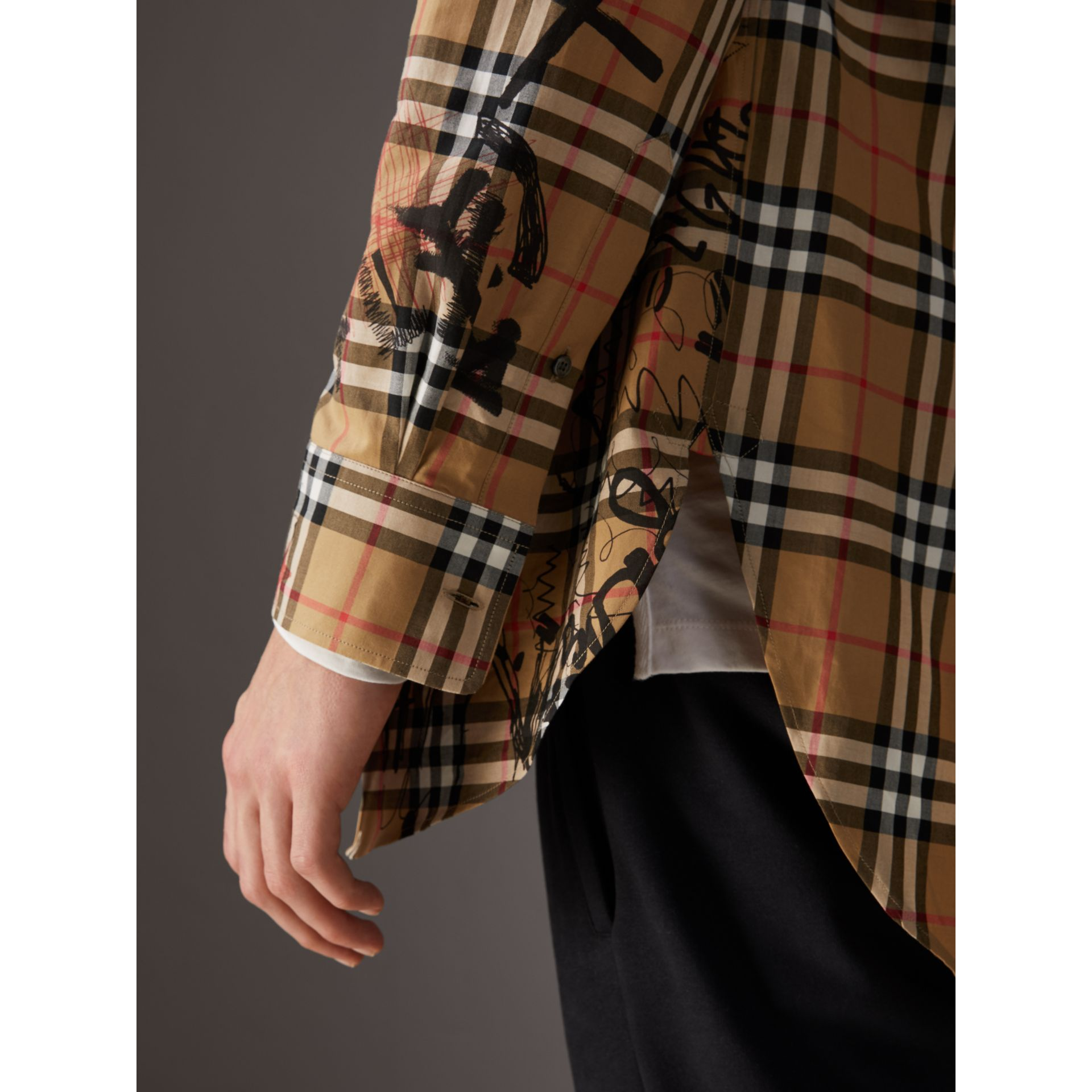 Burberry x Kris Wu Vintage Check Cotton Shirt in Antique Yellow - Men | Burberry United Kingdom - gallery image 1