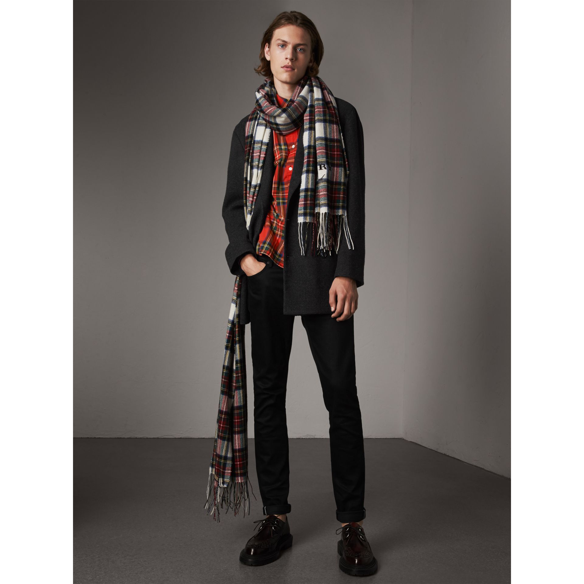Prince of Wales Wool Blend Double-breasted Jacket in Charcoal Melange - Men | Burberry - gallery image 5