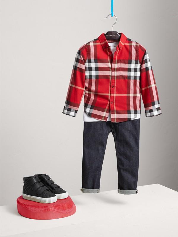 Camisa social xadrez de algodão (Vermelho Bandeira) - Menino | Burberry - cell image 2