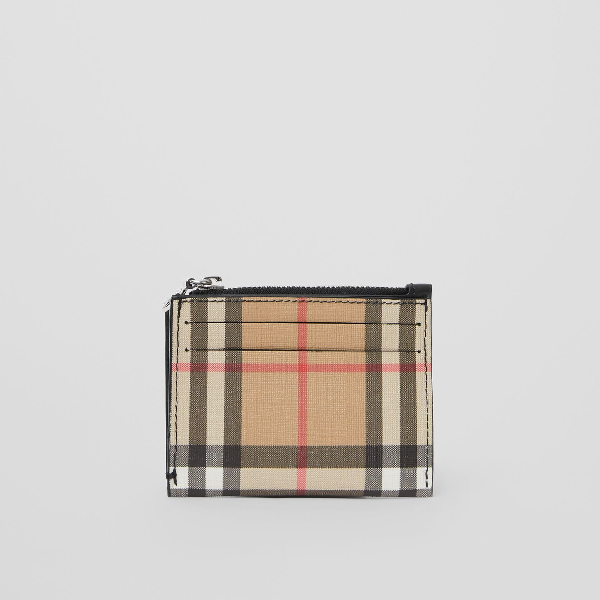 Vintage Check and Leather Zip Card Case in Black - Women | Burberry United Kingdom - gallery image 0