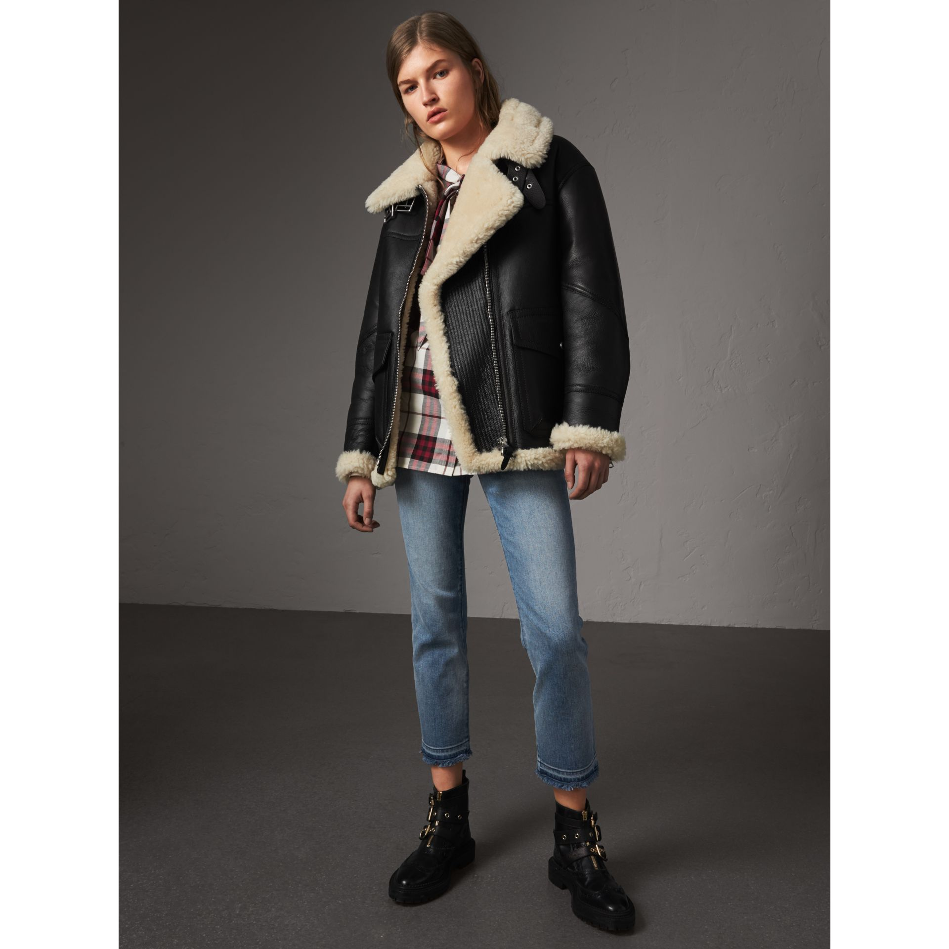 Shearling Aviator Jacket in Black - Women | Burberry - gallery image 1
