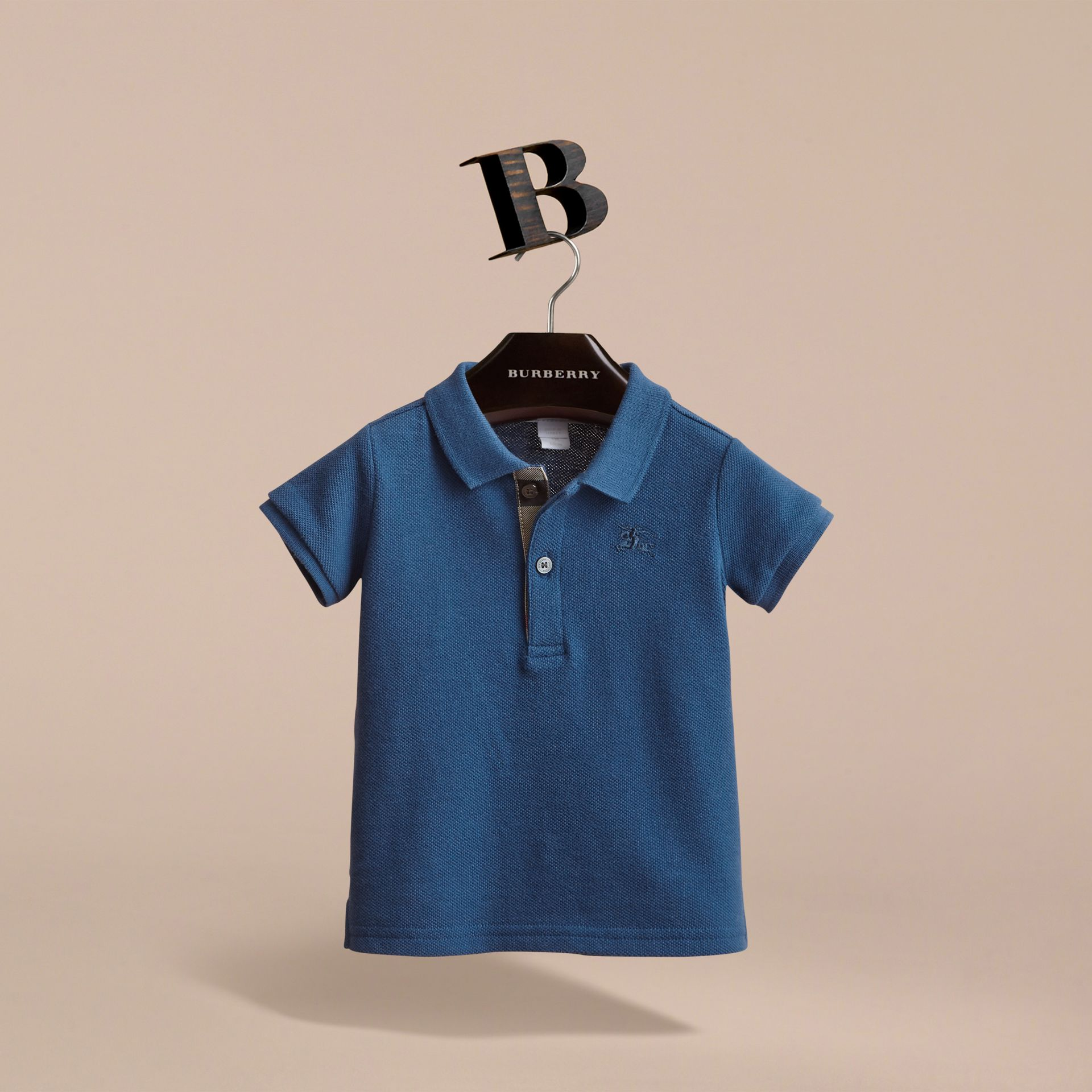 Check Placket Cotton Piqué Polo Shirt in Marine Blue - Children | Burberry - gallery image 3