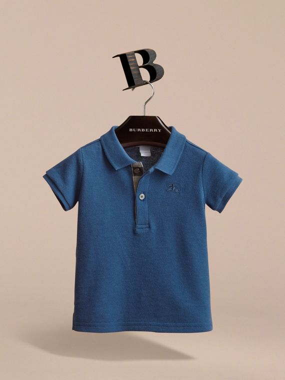 Check Placket Cotton Piqué Polo Shirt in Marine Blue - Children | Burberry Canada - cell image 2