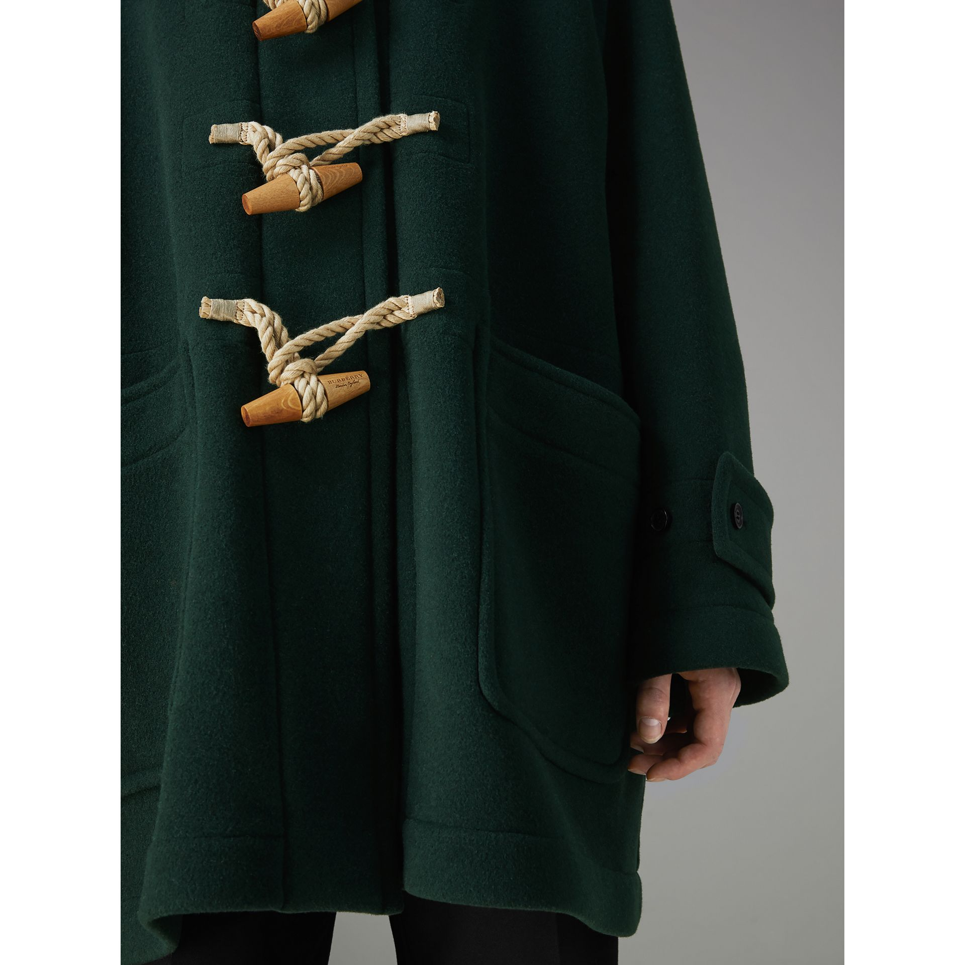 Gosha x Burberry Oversized Duffle Coat in Dark Forest Green | Burberry - gallery image 5