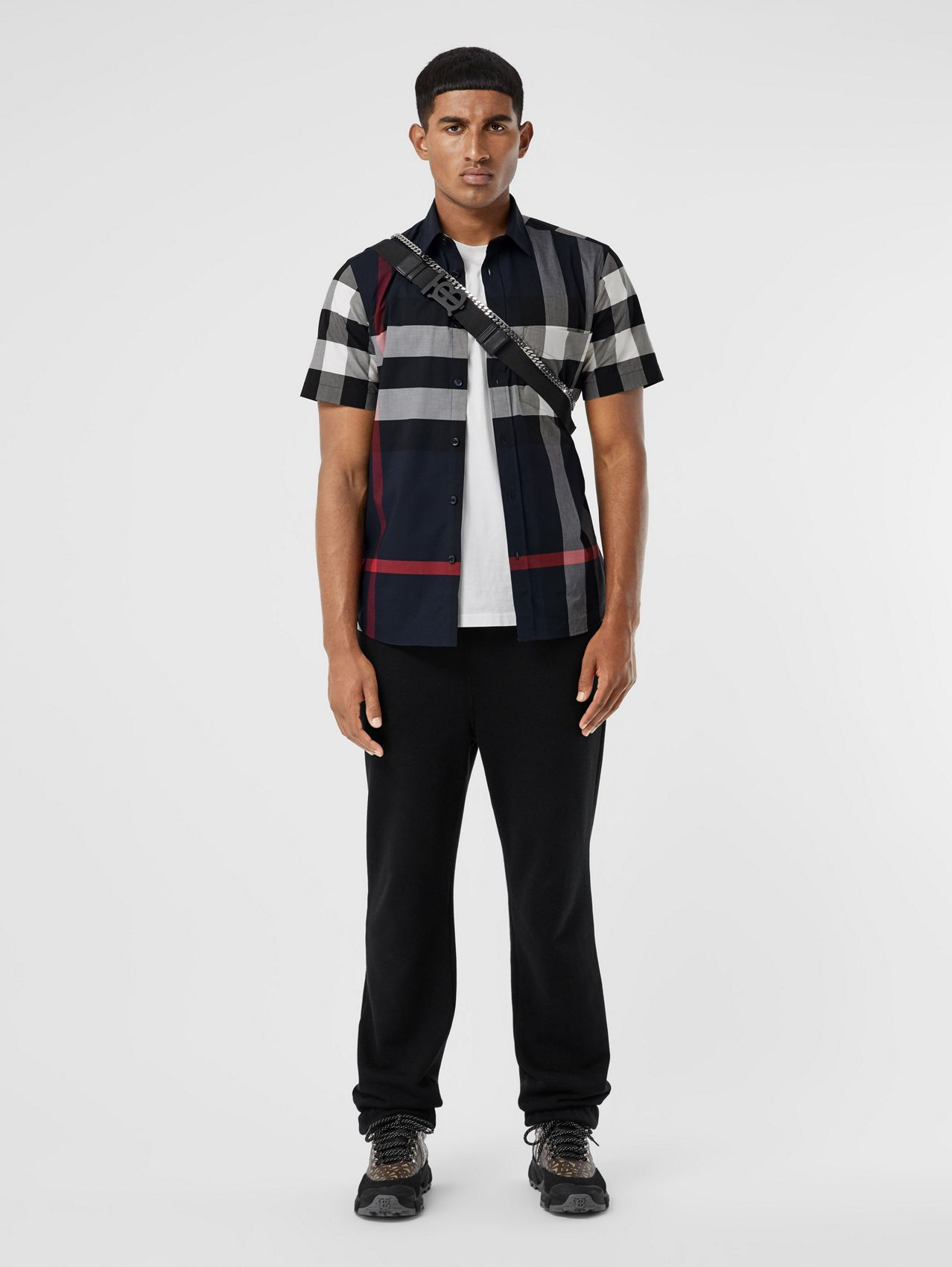 Short-sleeve Check Stretch Cotton Poplin Shirt in Navy