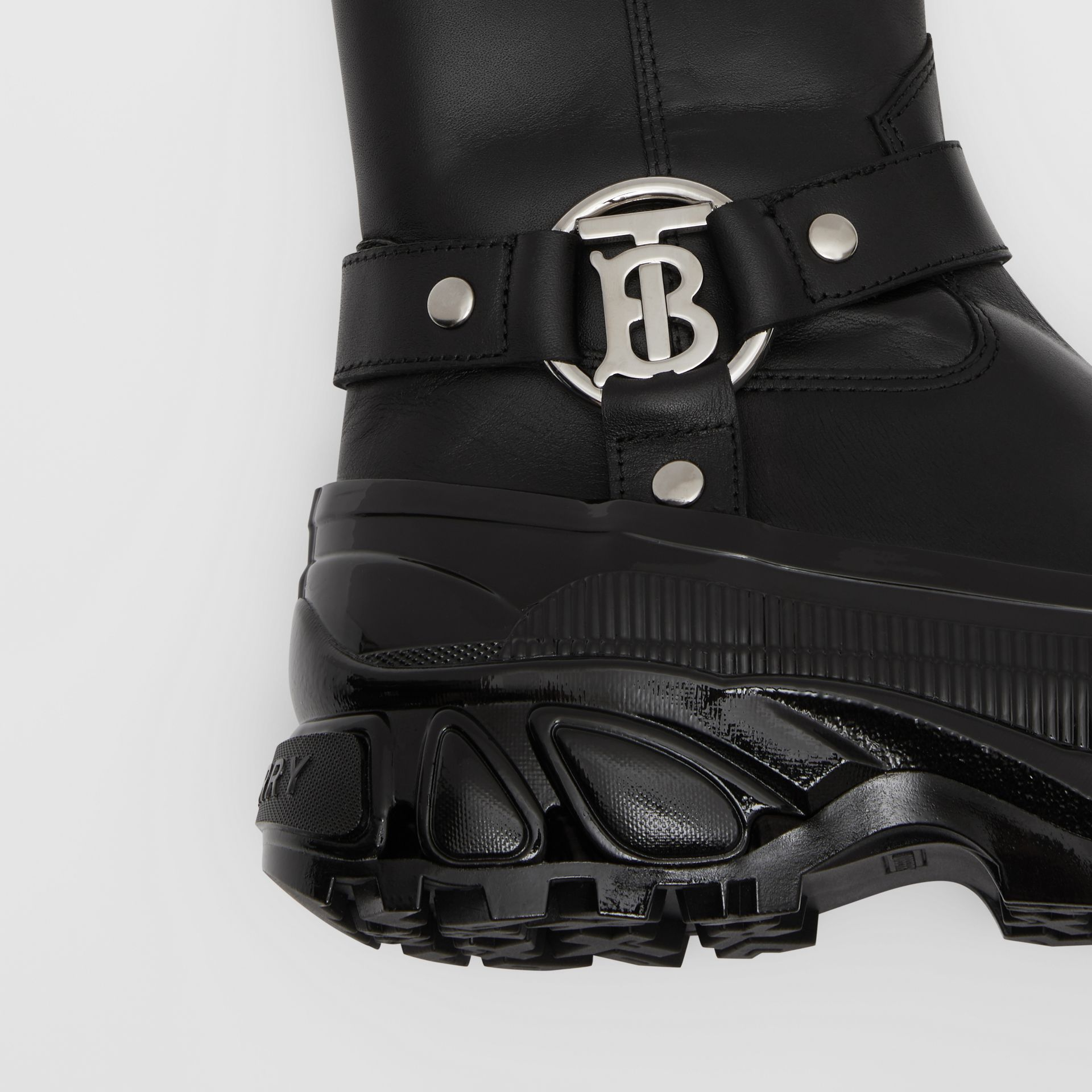 Monogram Motif Buckle Leather Boots in Black - Women | Burberry Singapore - gallery image 6