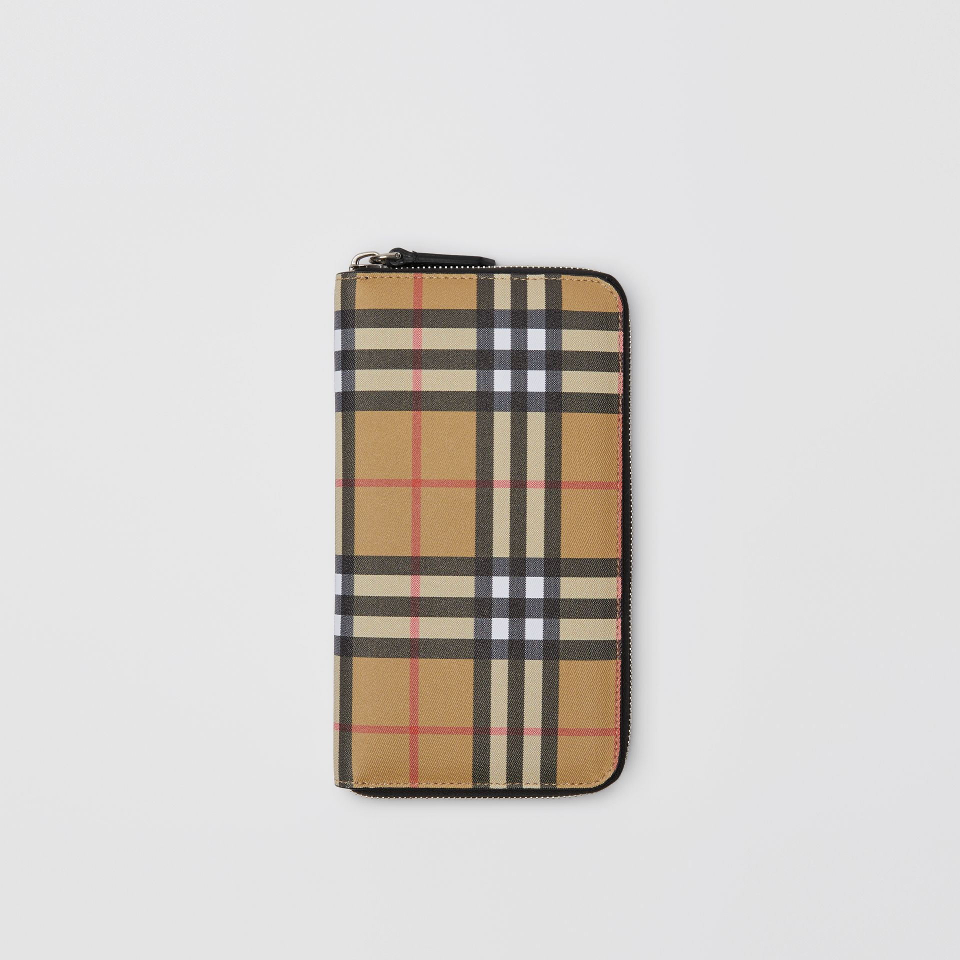 Vintage Check and Leather Ziparound Wallet in Antique Yellow/black - Men | Burberry Australia - gallery image 0