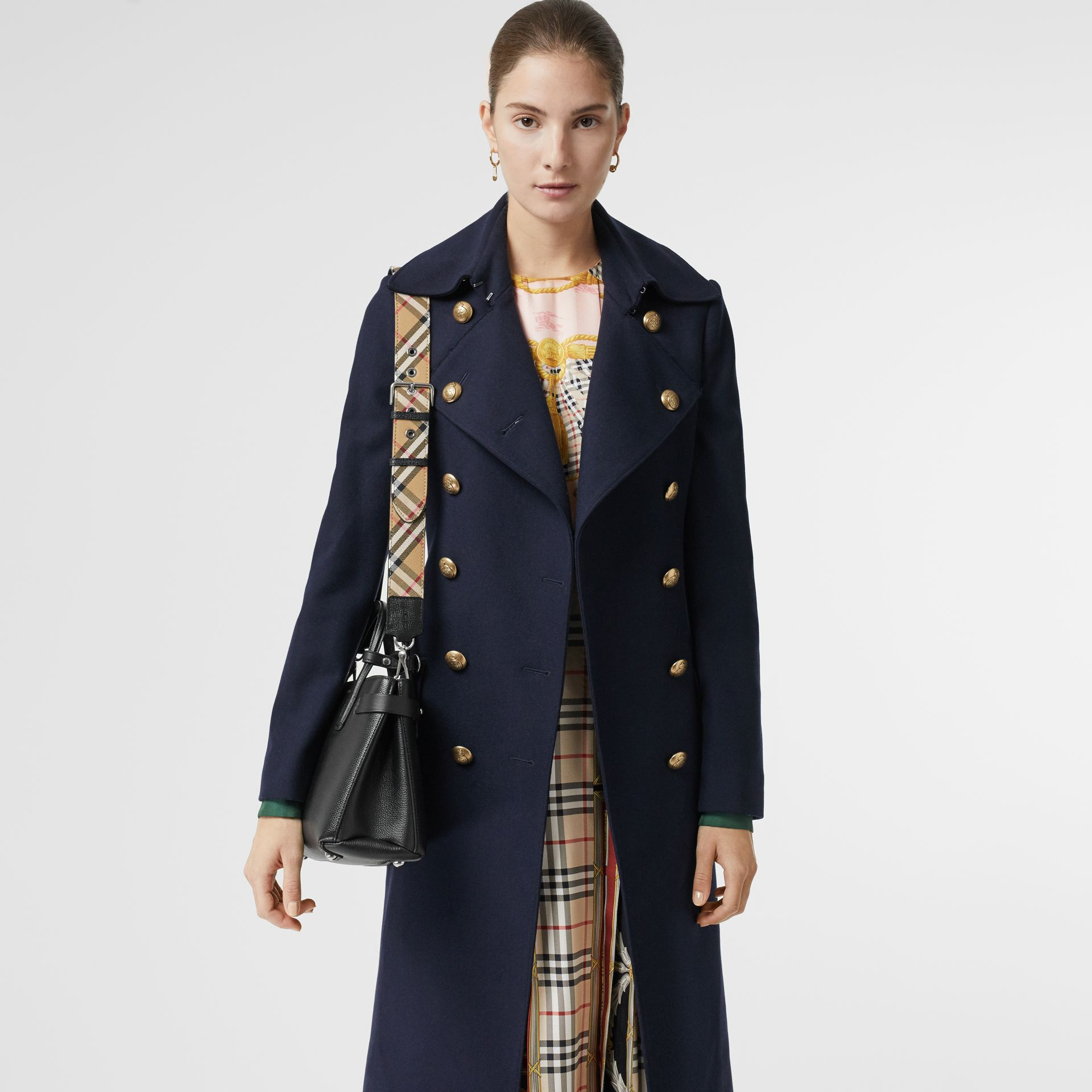 The Small Banner in Leather and Vintage Check in Black - Women | Burberry Singapore - gallery image 3