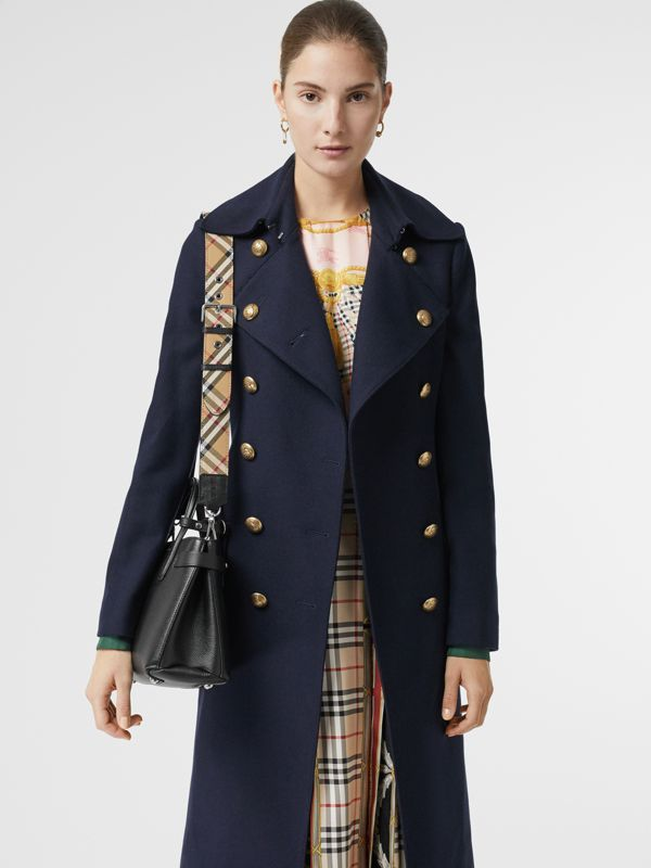 The Small Banner in Leather and Vintage Check in Black - Women | Burberry Singapore - cell image 3