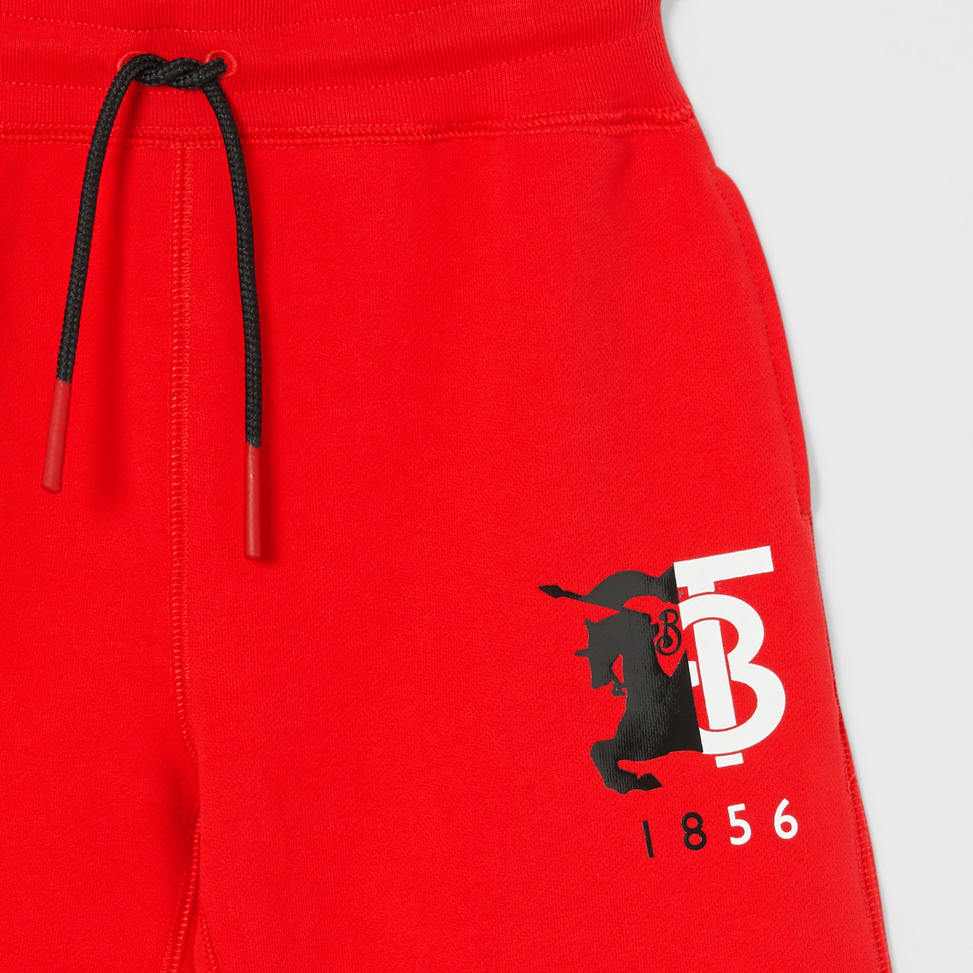 Contrast Logo Graphic Cotton Drawcord Shorts in Bright Red | Burberry - gallery image 4