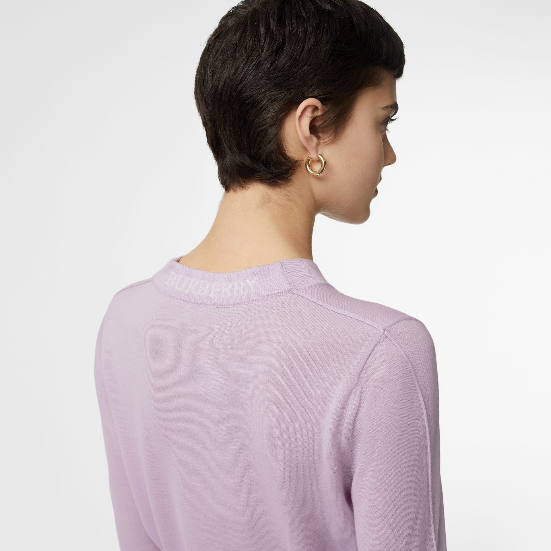 Logo Detail Merino Wool Sweater in Pale Heather - Women | Burberry - gallery image 1
