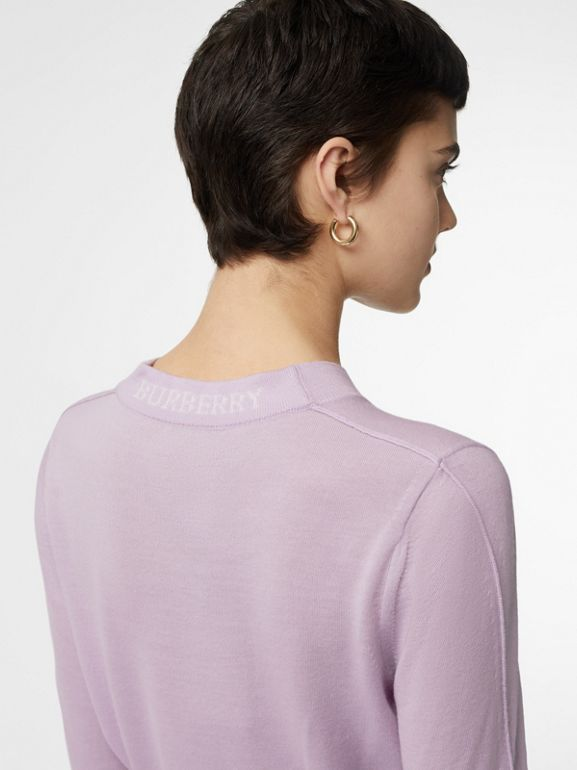Logo Detail Merino Wool Sweater in Pale Heather - Women | Burberry - cell image 1