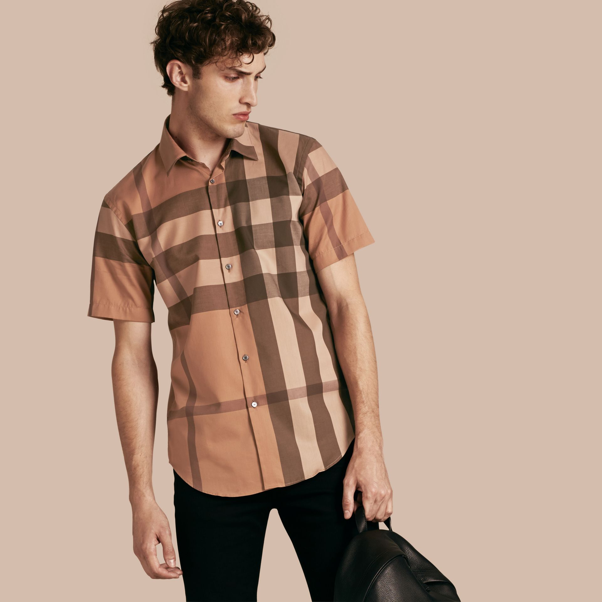 Dark camel Short-sleeved Check Cotton Shirt Dark Camel - gallery image 1