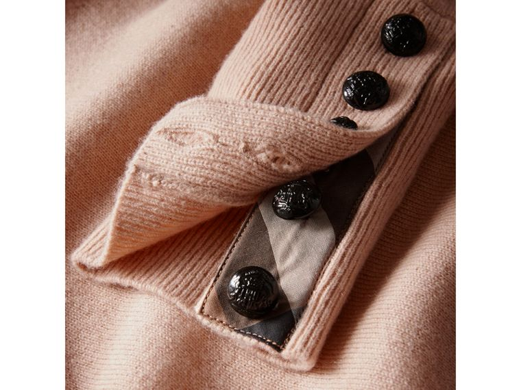 Cable Knit Yoke Cashmere Sweater in Apricot Pink - Women | Burberry - cell image 4