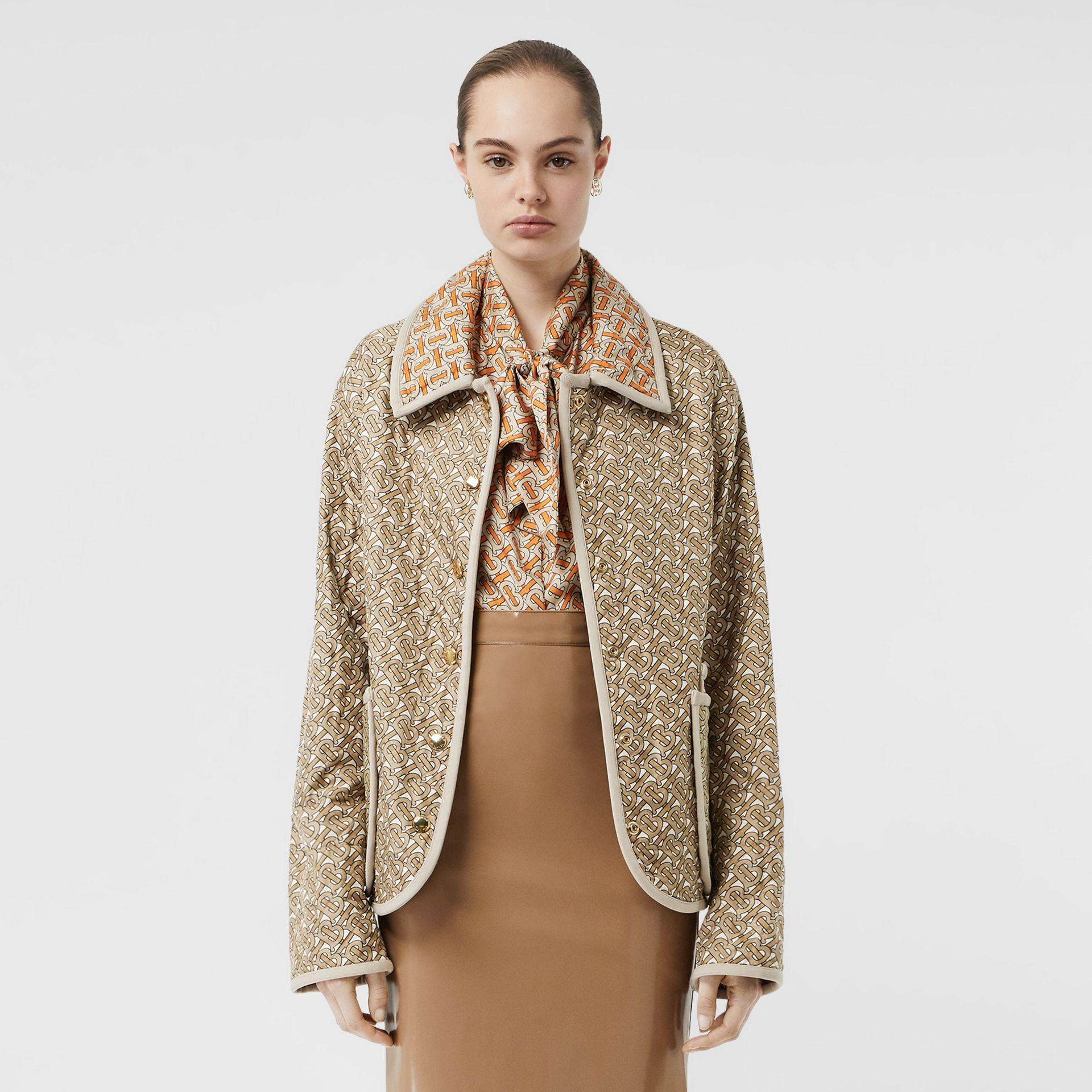Monogram Print Quilted Silk Jacket in Archive Beige - Women | Burberry - gallery image 7
