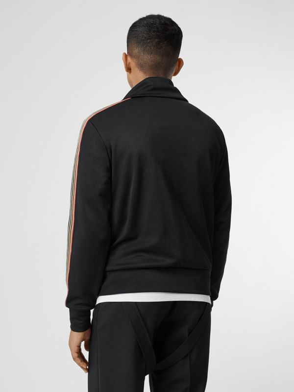 Icon Stripe Detail Funnel Neck Track Top in Black - Men | Burberry - cell image 2