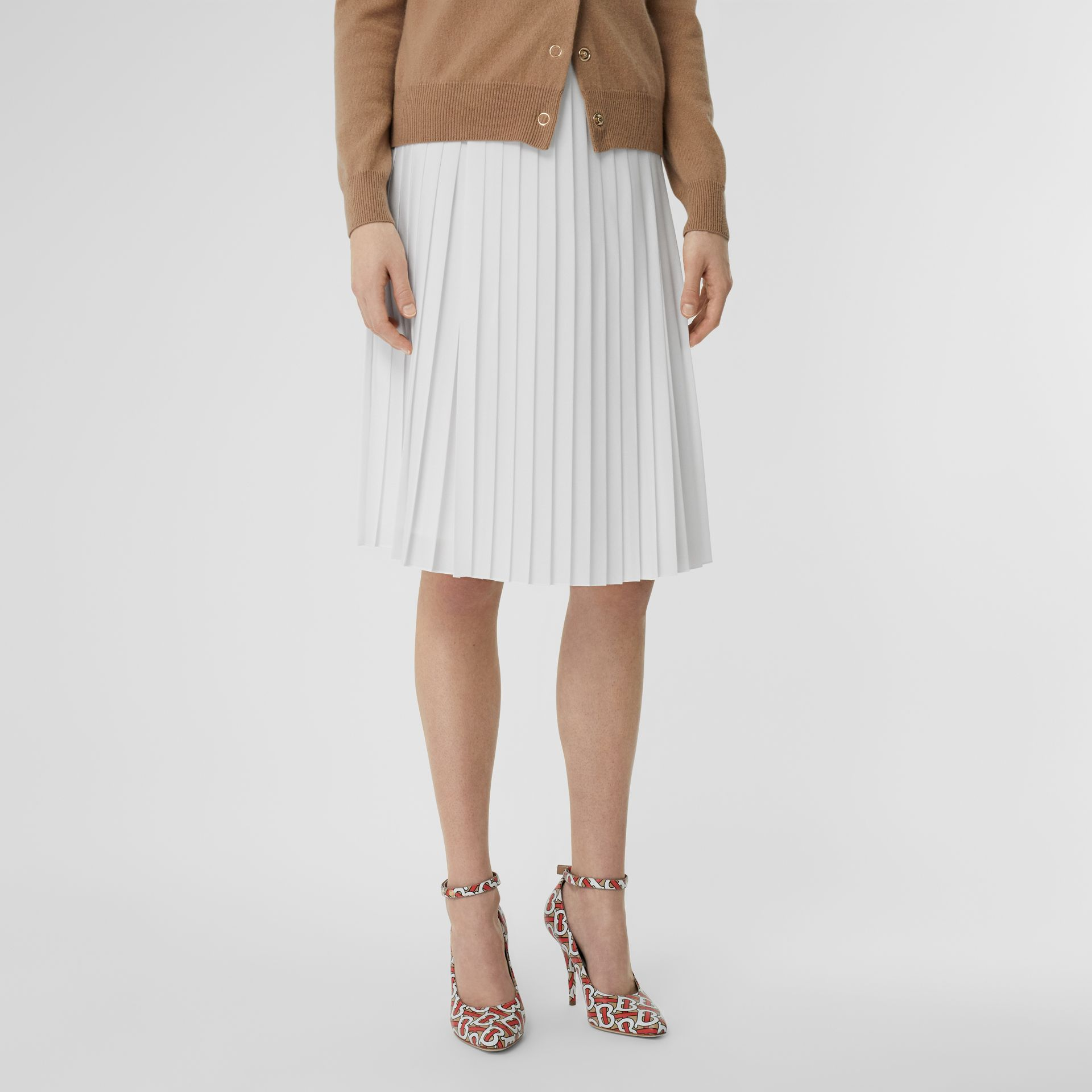 Silk-lined Pleated Skirt in Optic White - Women | Burberry - gallery image 4