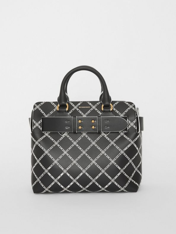 The Small Perforated Link Leather Belt Bag in Black