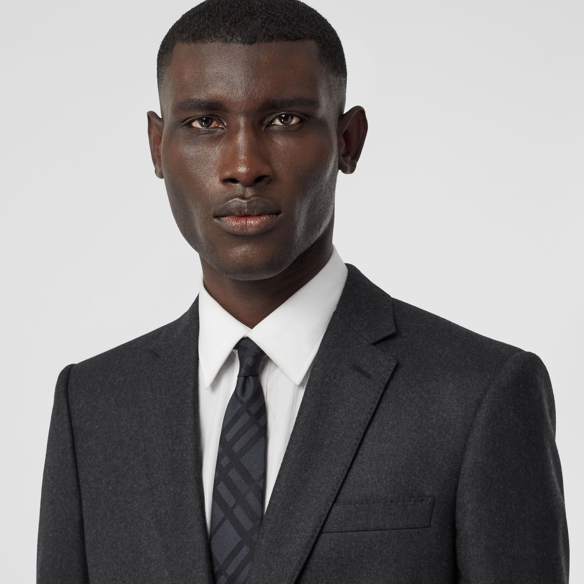 Classic Fit Wool Flannel Tailored Jacket in Charcoal - Men | Burberry - gallery image 1