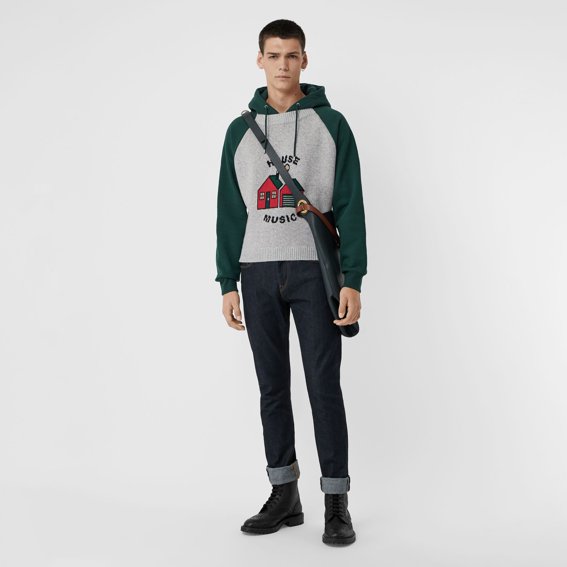 House Music Intarsia Jersey Hoodie in Forest Green - Men | Burberry Singapore - gallery image 0
