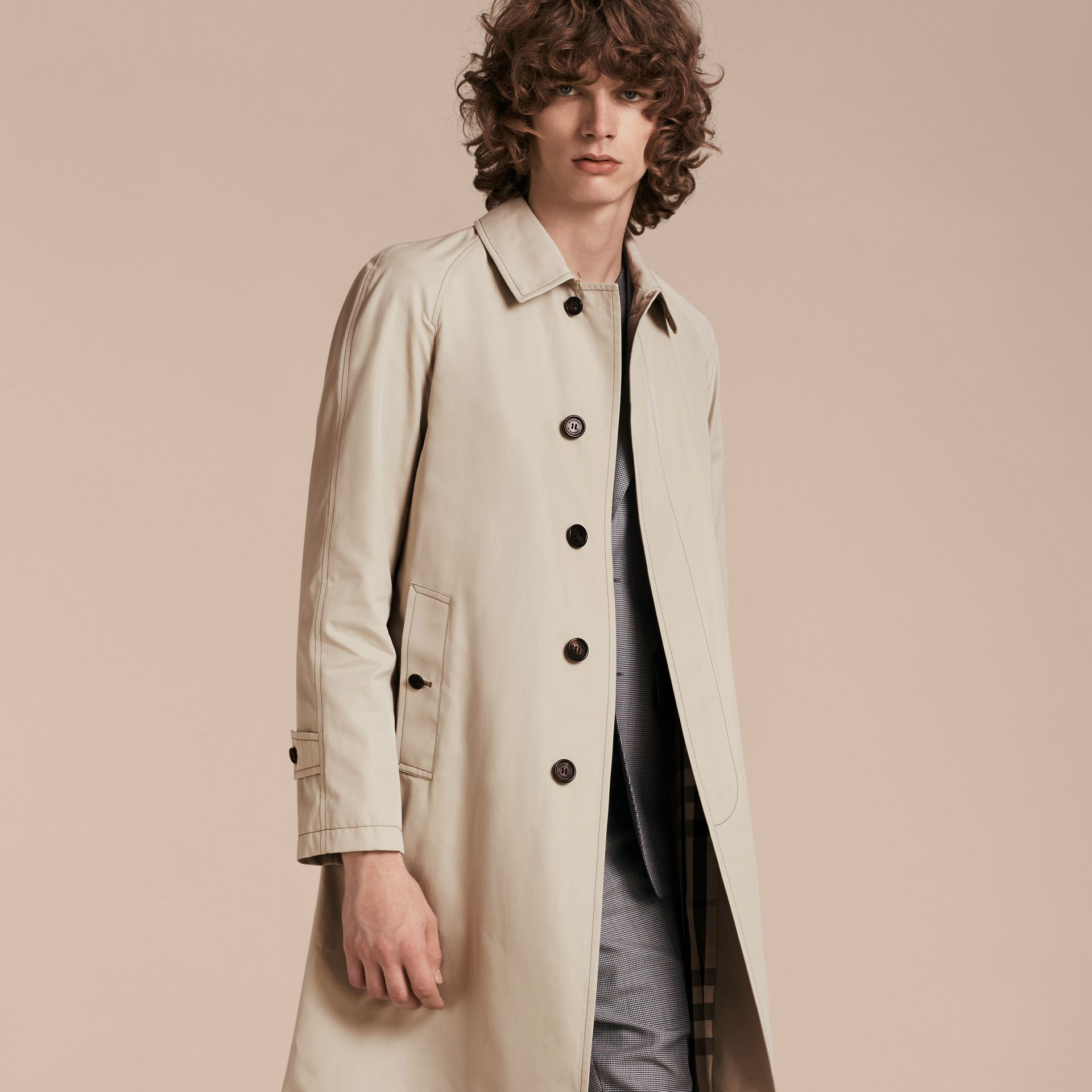 Stone Long Cotton Gabardine Car Coat - gallery image 7