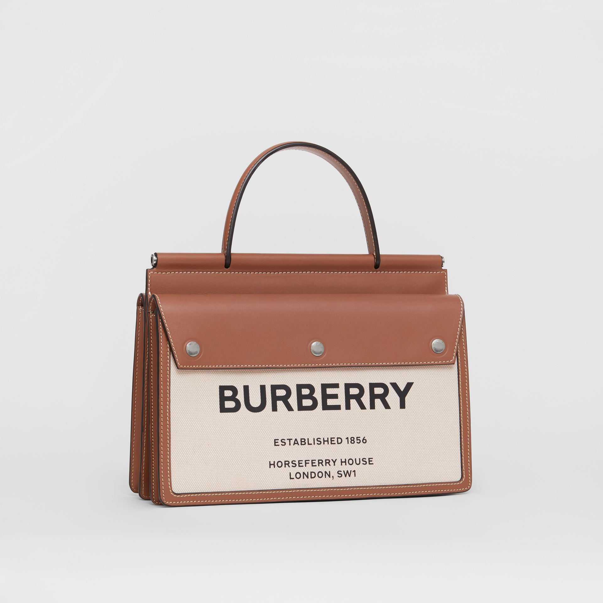 Small Horseferry Print Title Bag with Pocket Detail in Natural/malt Brown - Women | Burberry United Kingdom - gallery image 5