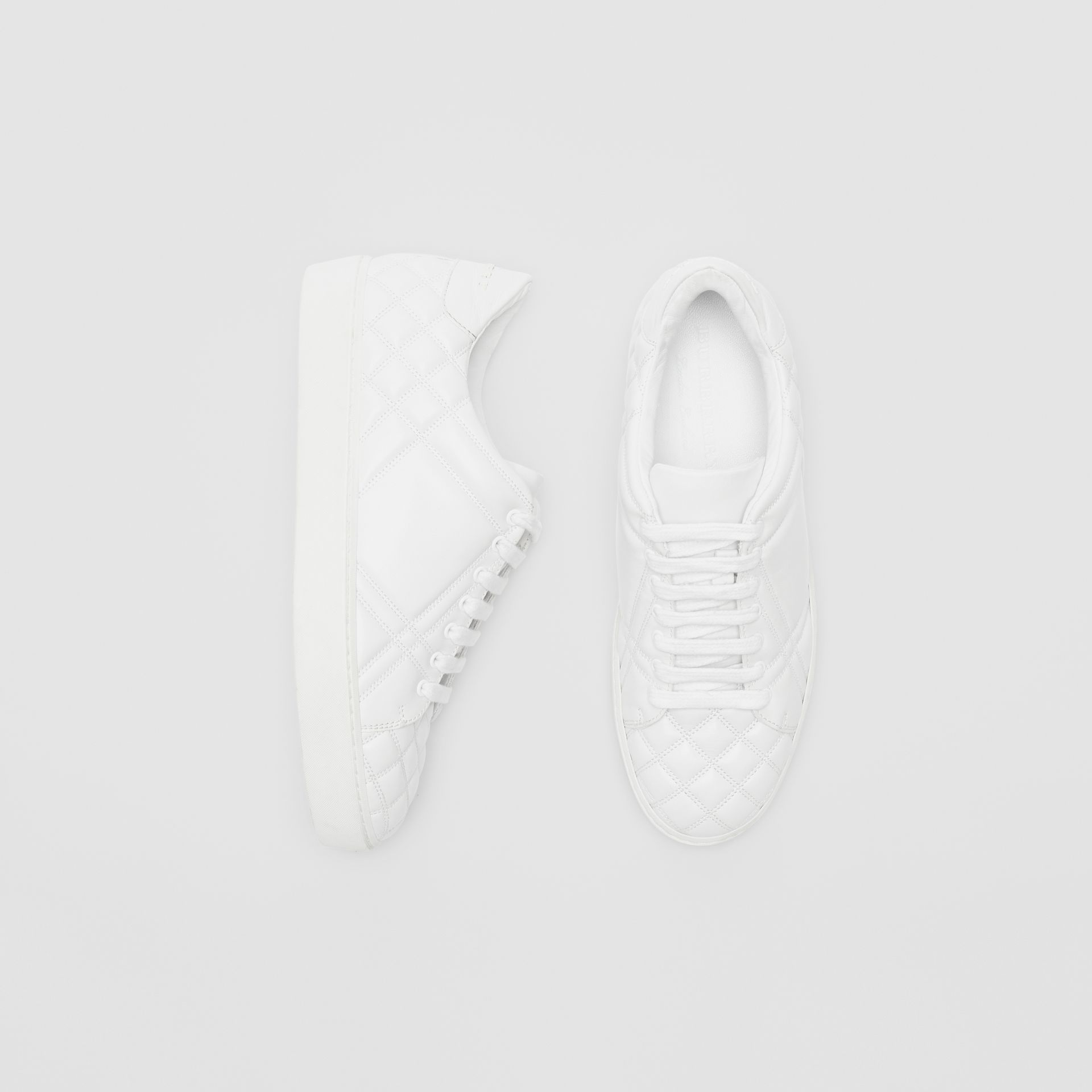 Check-quilted Leather Sneakers in Optic White - Women | Burberry United Kingdom - gallery image 0