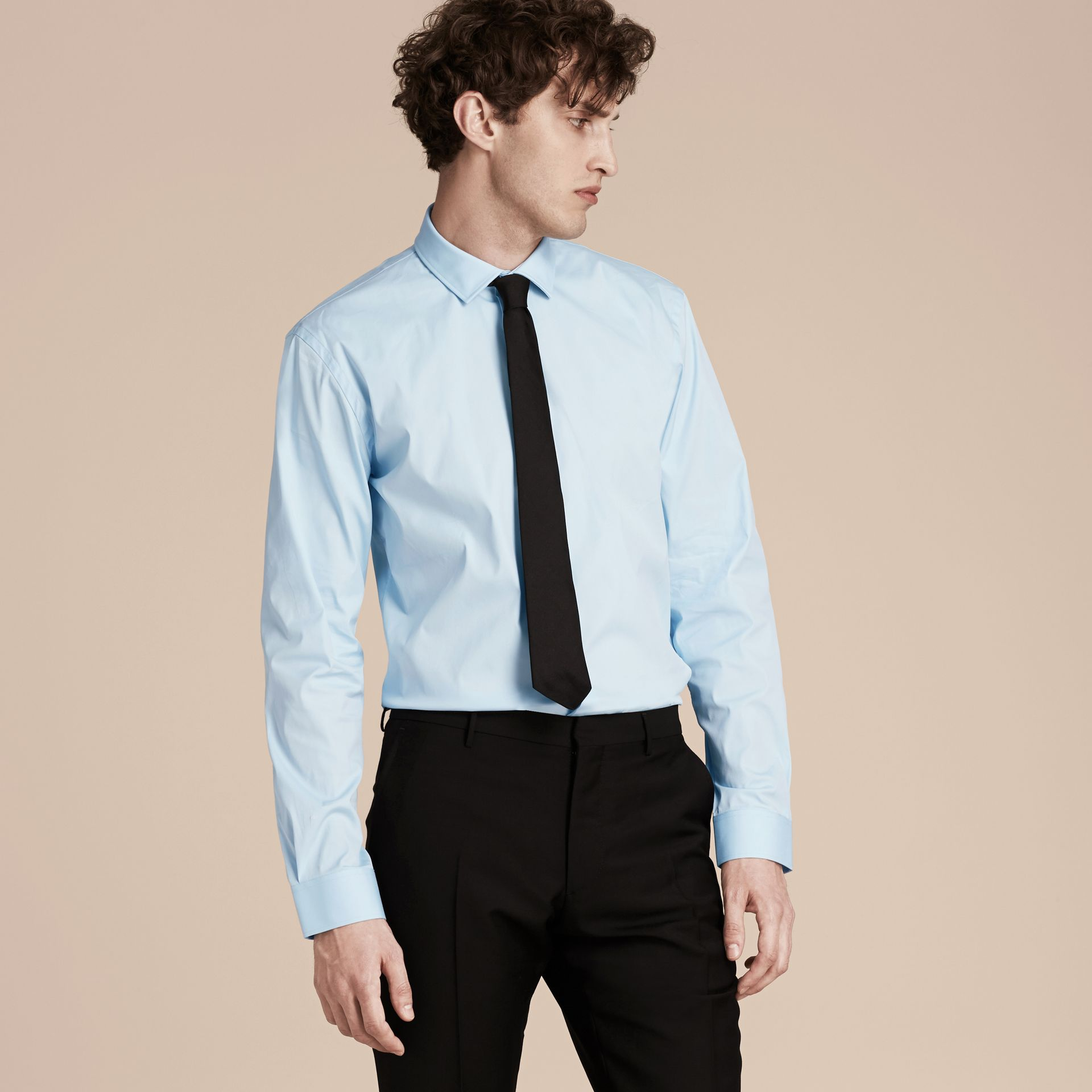 Modern Fit Stretch Cotton Shirt in City Blue - gallery image 6