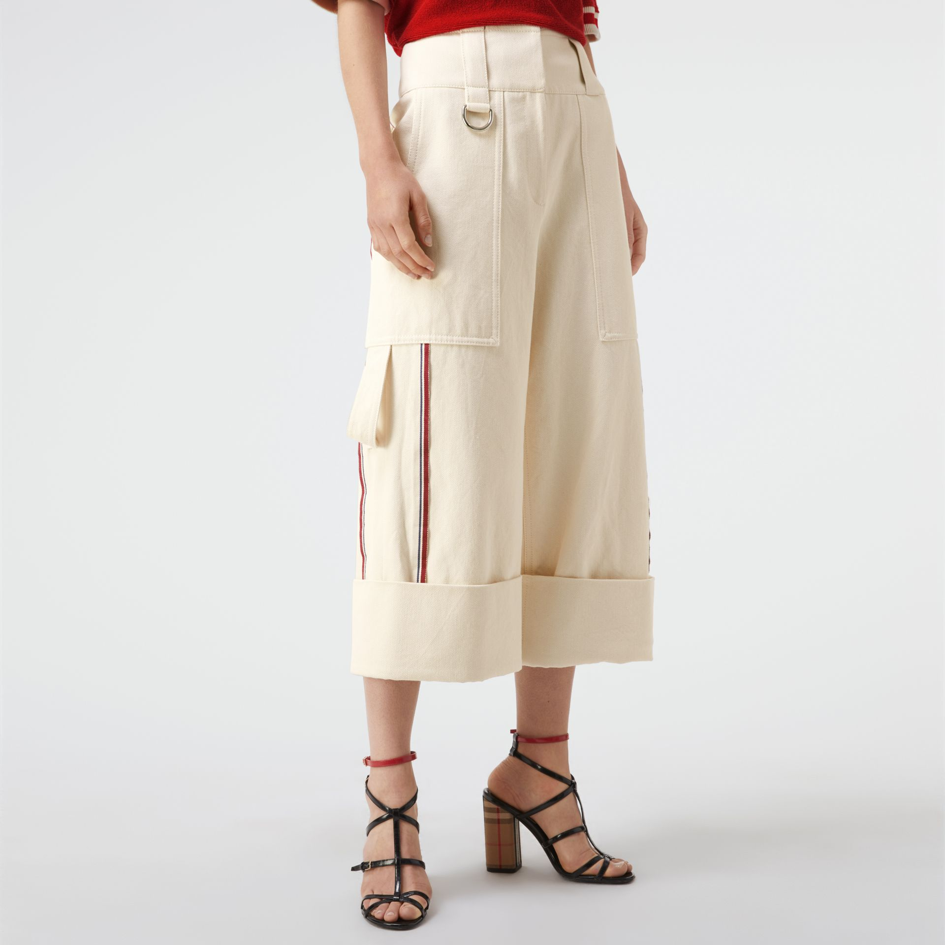 Stripe Detail Cotton Cropped Wide-leg Trousers in Natural White - Women | Burberry Canada - gallery image 4
