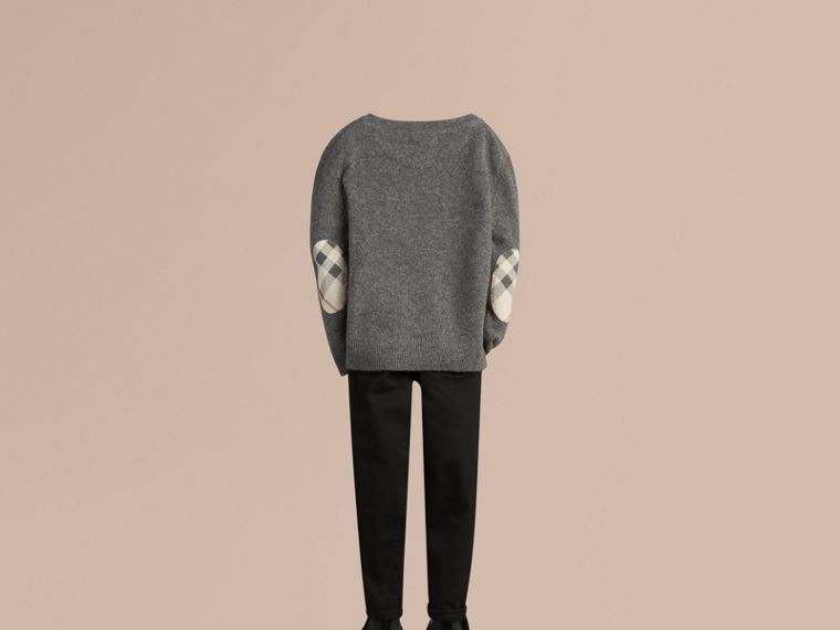 Check Elbow Patch Cashmere Sweater in Mid Grey Melange - cell image 2