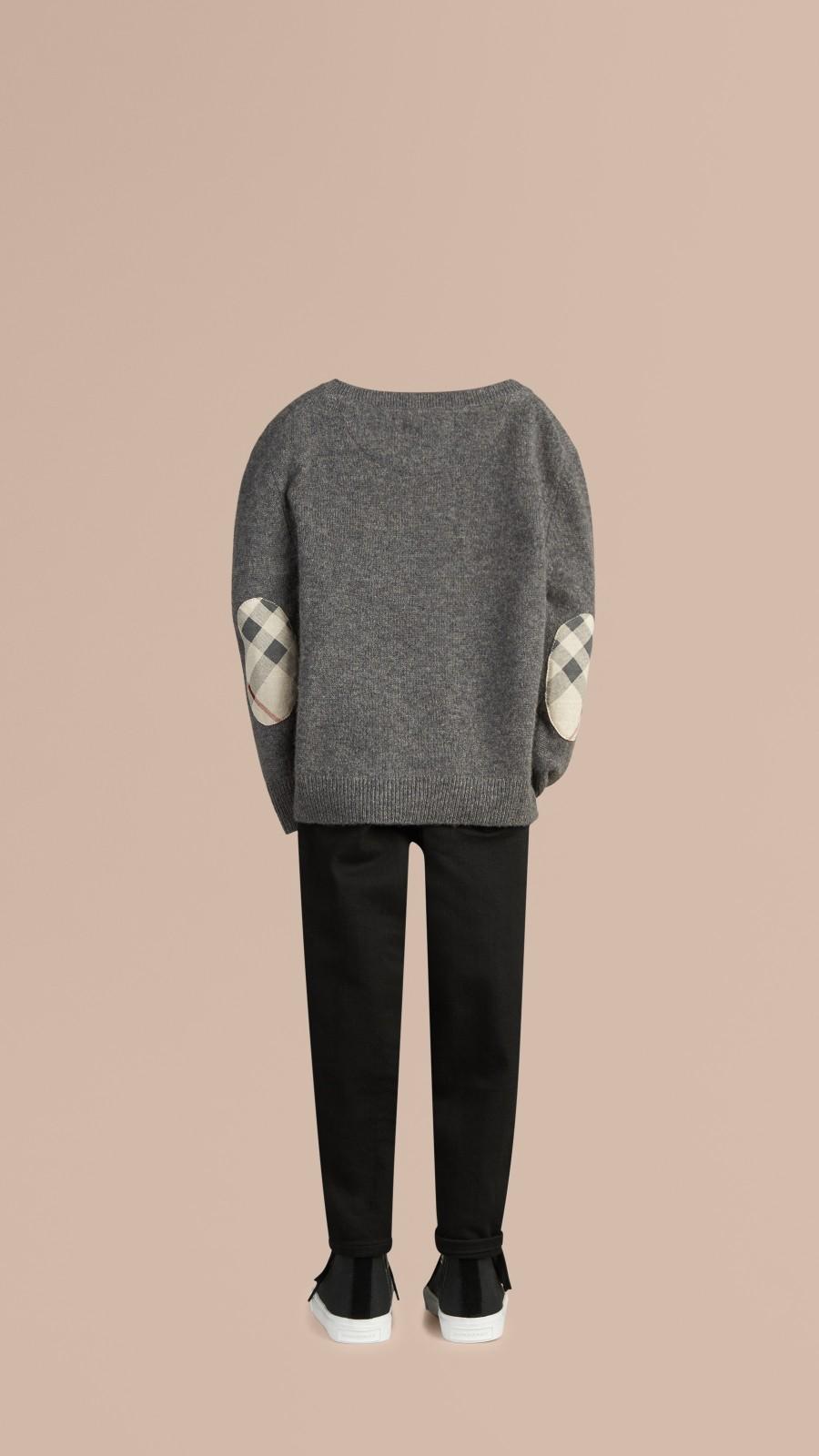 Mid grey melange Check Elbow Patch Cashmere Sweater Mid Grey Melange - Image 3