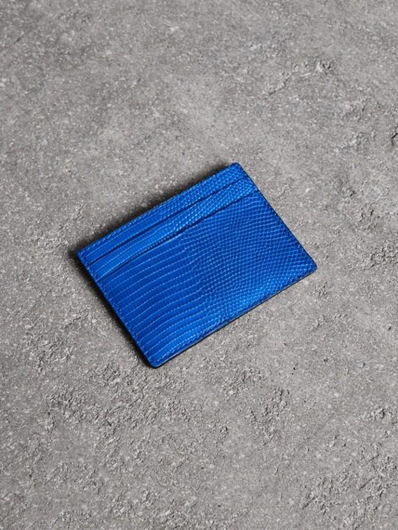 Футляр для карт из кожи ящерицы (Синий Сапфир)