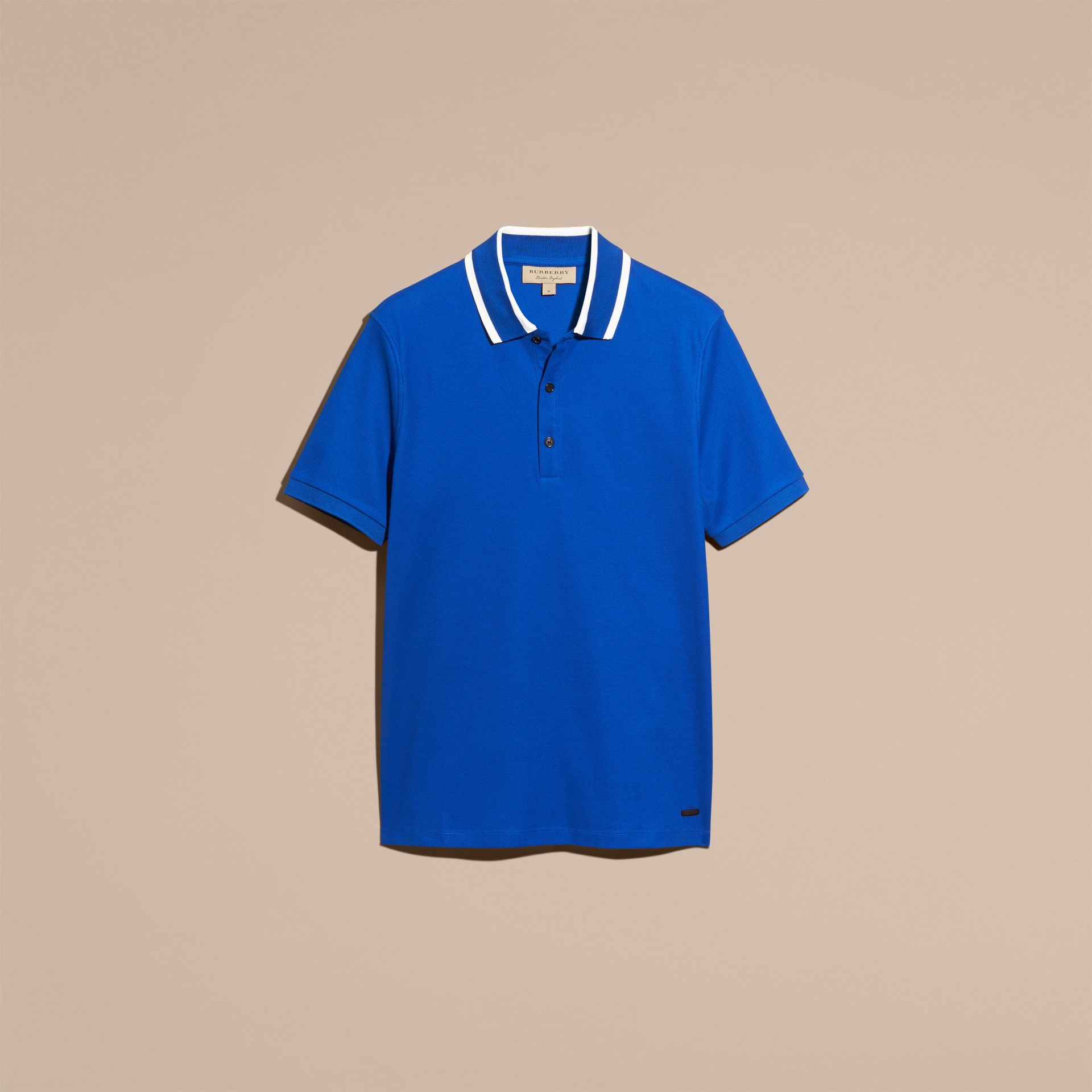 Cobalt blue Striped Collar Cotton Piqué Polo Shirt Cobalt Blue - gallery image 4