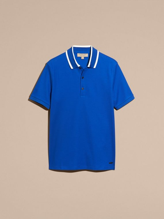 Cobalt blue Striped Collar Cotton Piqué Polo Shirt Cobalt Blue - cell image 3