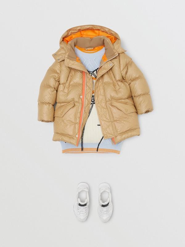 Detachable Hood Embossed Logo Puffer Coat in Honey | Burberry - cell image 2