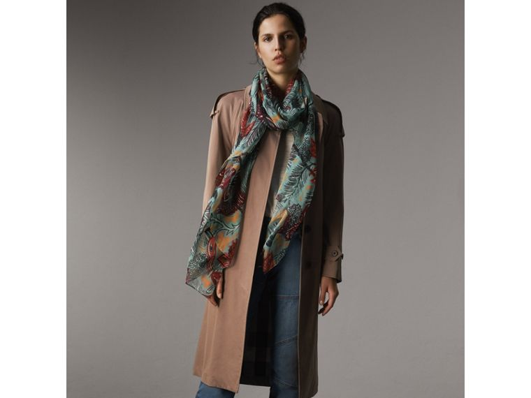 Beasts Print Lightweight Silk Scarf in Pale Celadon - Women | Burberry Australia - cell image 2