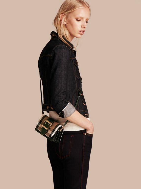 The Small Buckle Bag in House Check and Leather in Kelly Green/kelly Green - Women | Burberry Canada - cell image 3