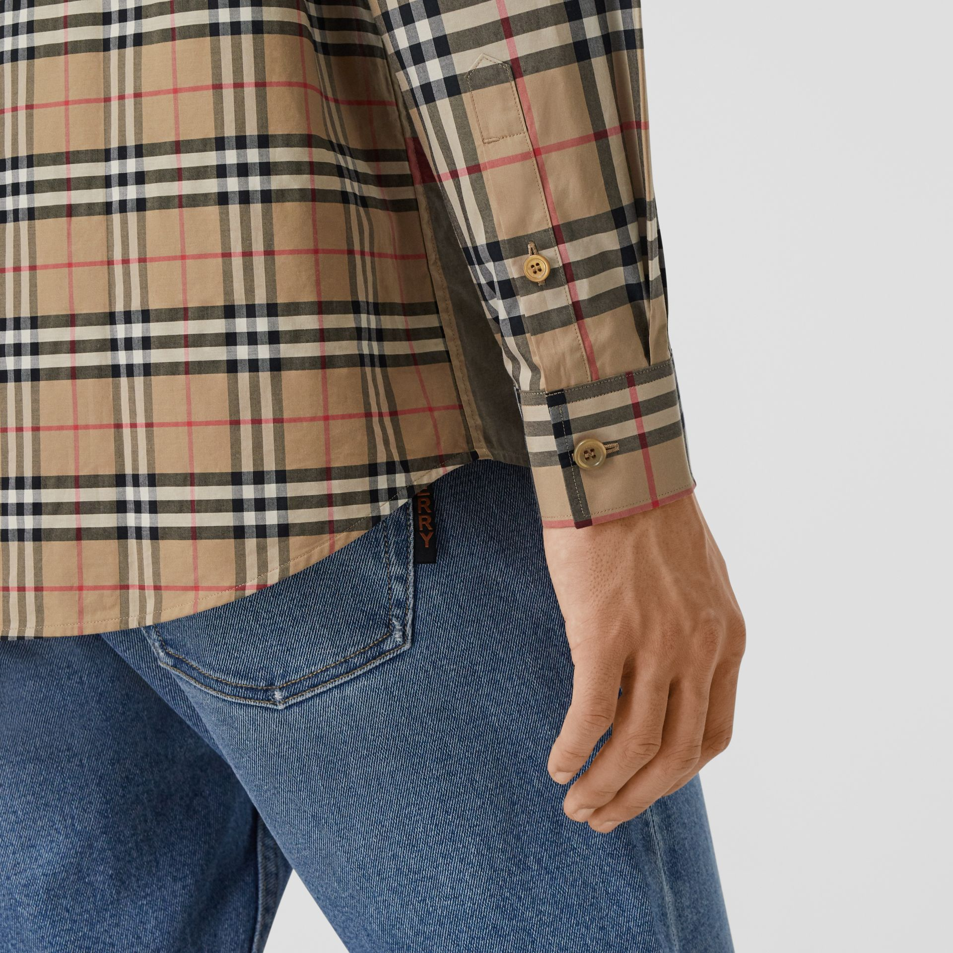 Patchwork Check Stretch Cotton Oversized Shirt in Archive Beige - Men | Burberry United Kingdom - gallery image 4