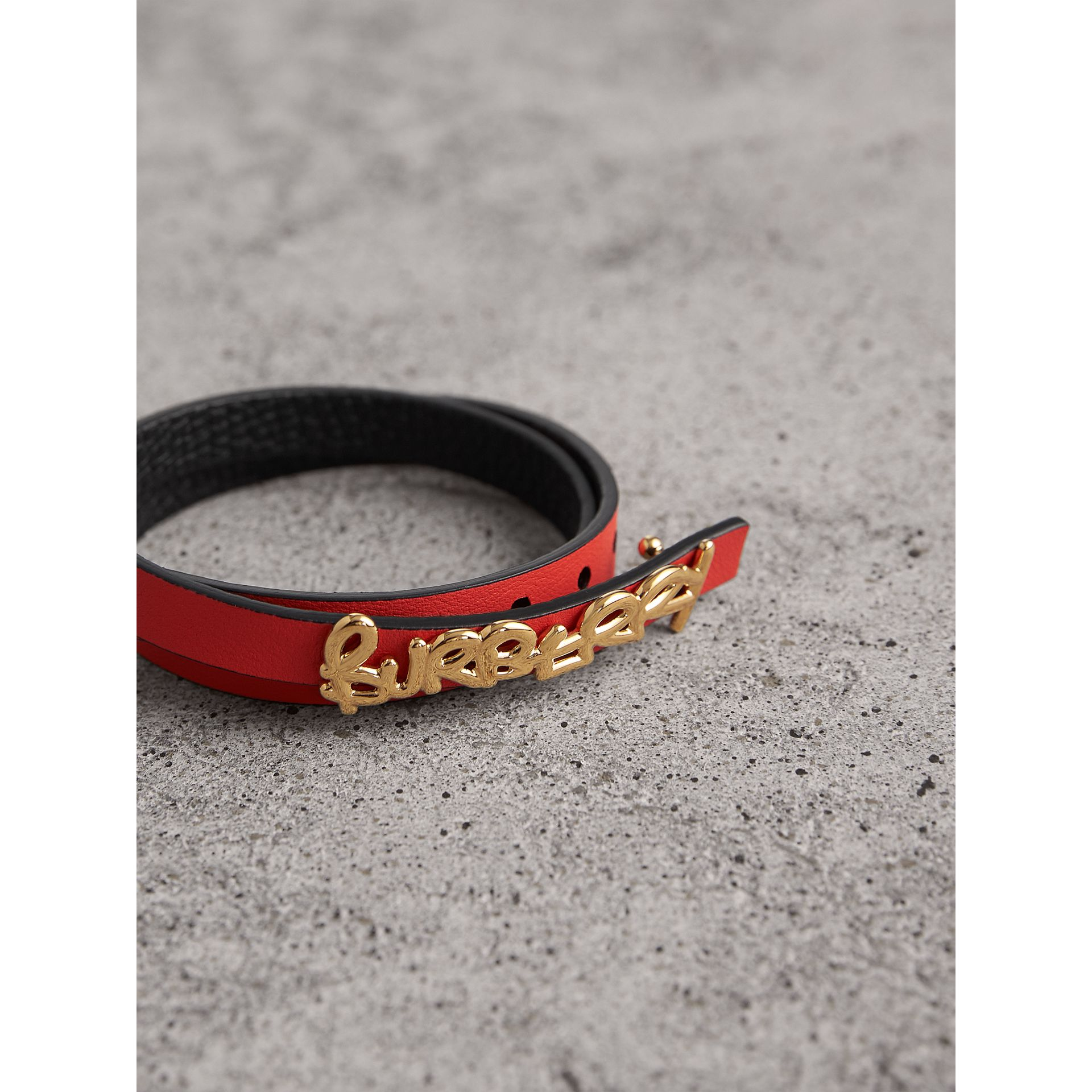 Doodle Detail Reversible Leather Bracelet in Black/red - Women | Burberry - gallery image 3
