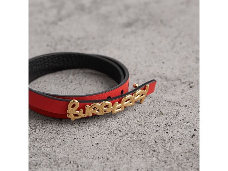 Doodle Detail Reversible Leather Bracelet in Black/red - Women | Burberry - cell image 2