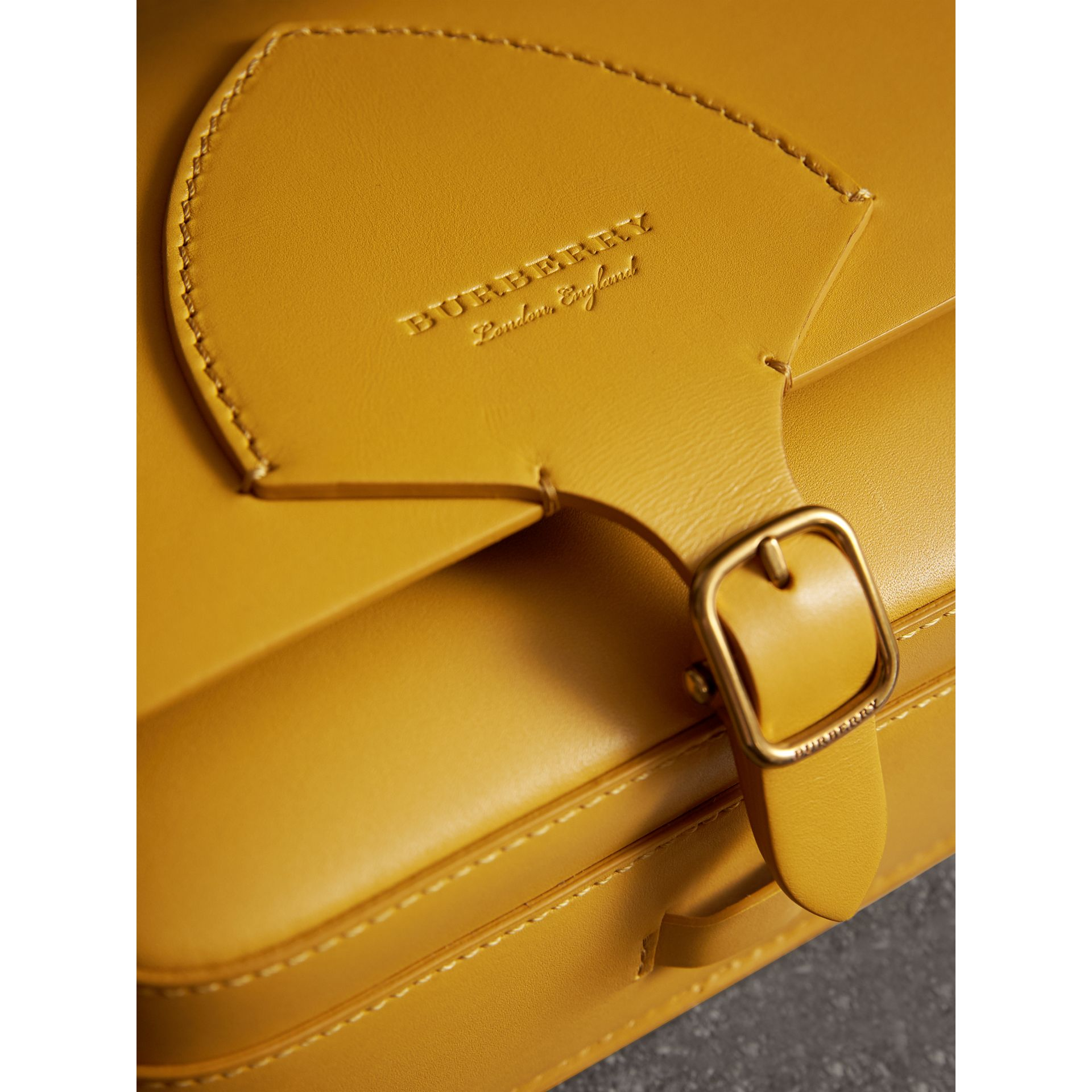The Square Satchel in Leather in Larch Yellow - Women | Burberry Australia - gallery image 2