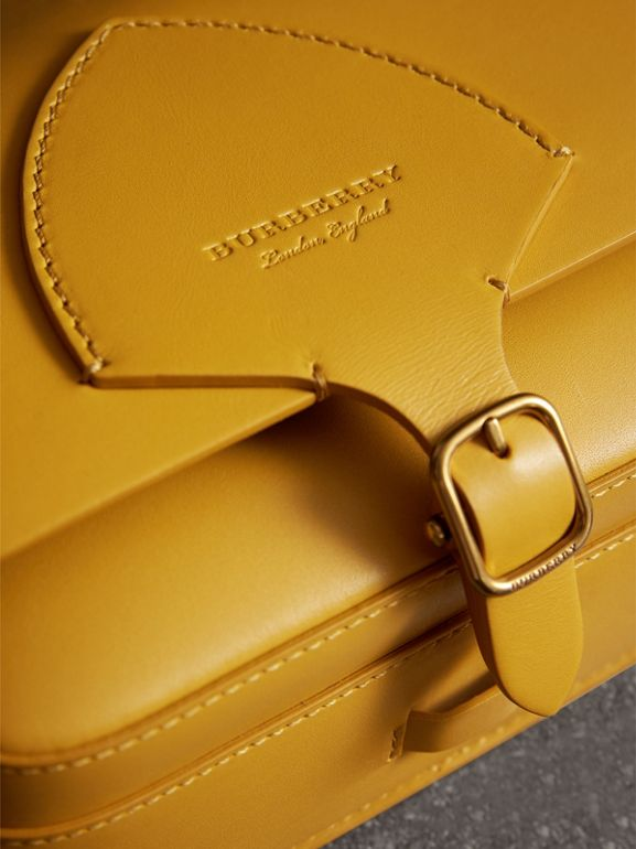The Square Satchel in Leather in Larch Yellow - Women | Burberry Australia - cell image 1
