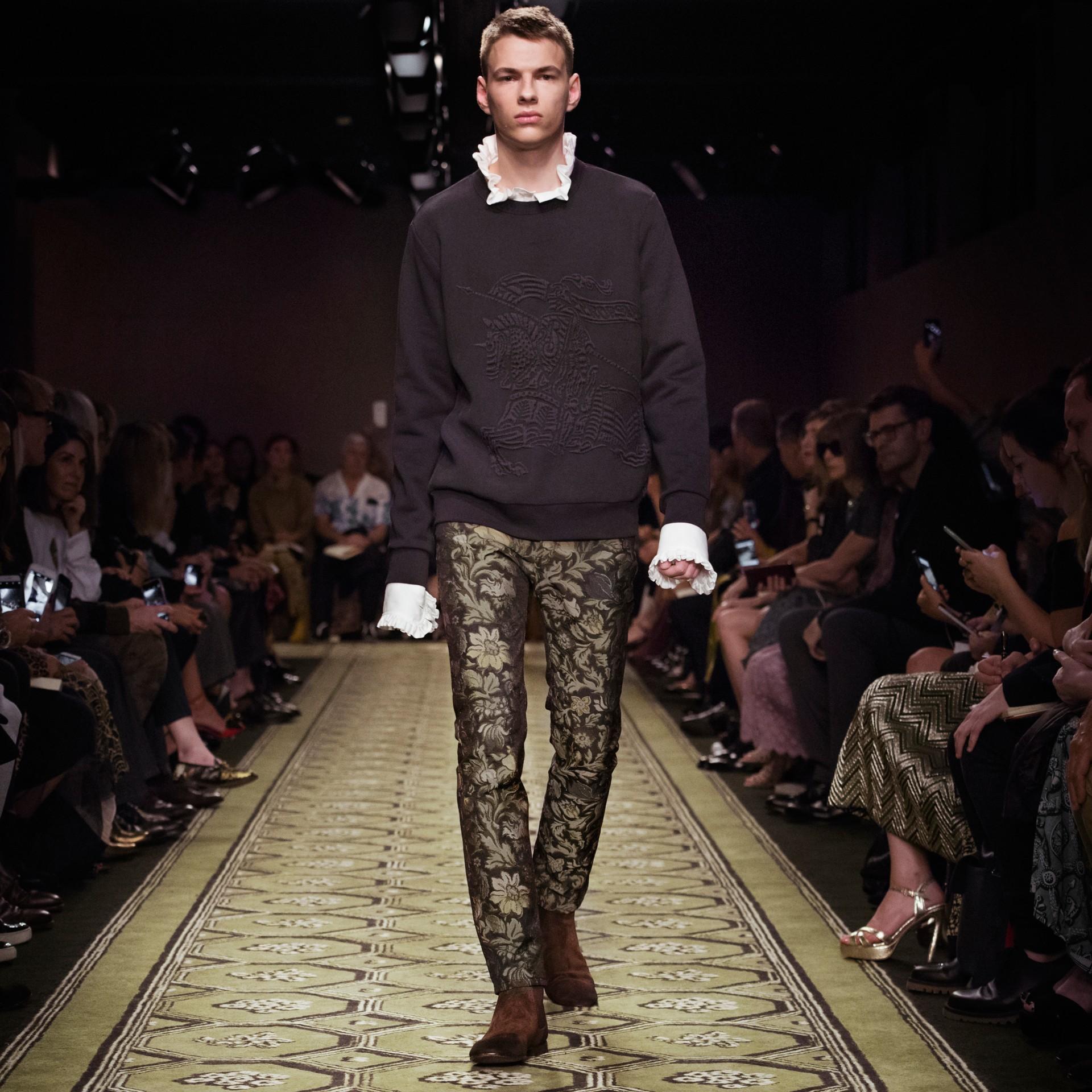 Sage Slim Fit Floral Jacquard Jeans Sage - gallery image 8