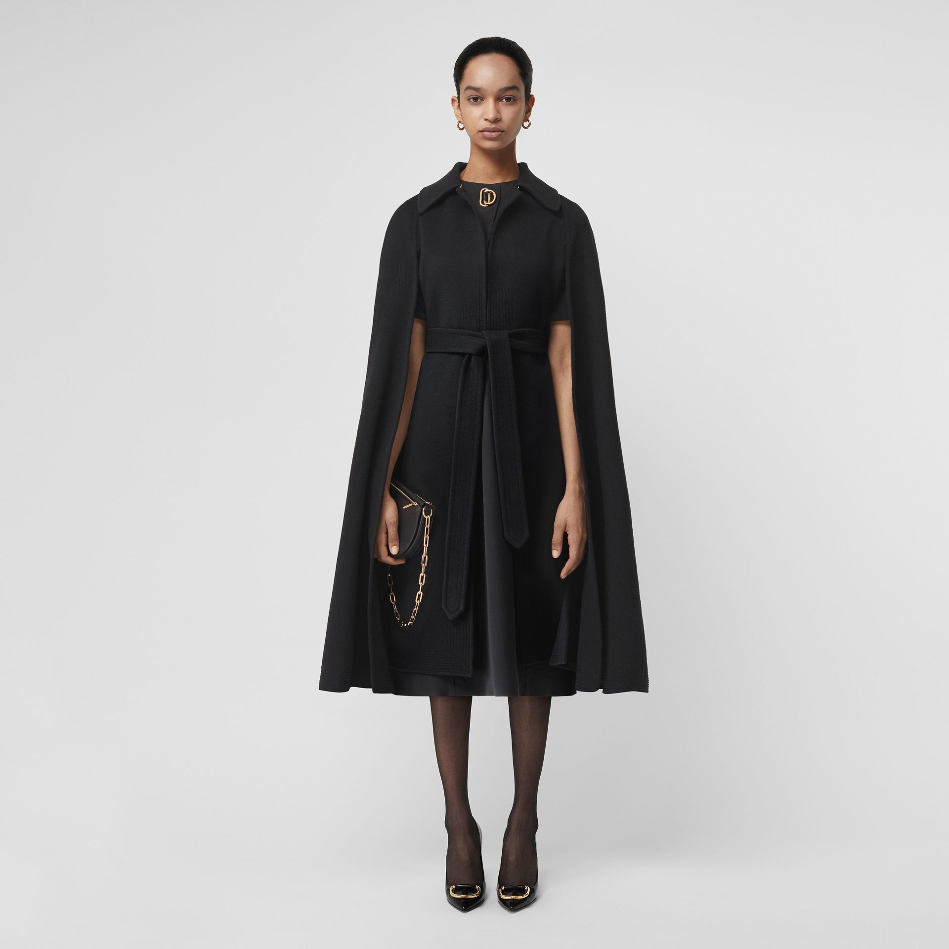 Double-faced Cashmere Belted Cape in Black - Women | Burberry - gallery image 0