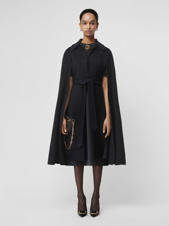 Double-faced Cashmere Belted Cape in Black