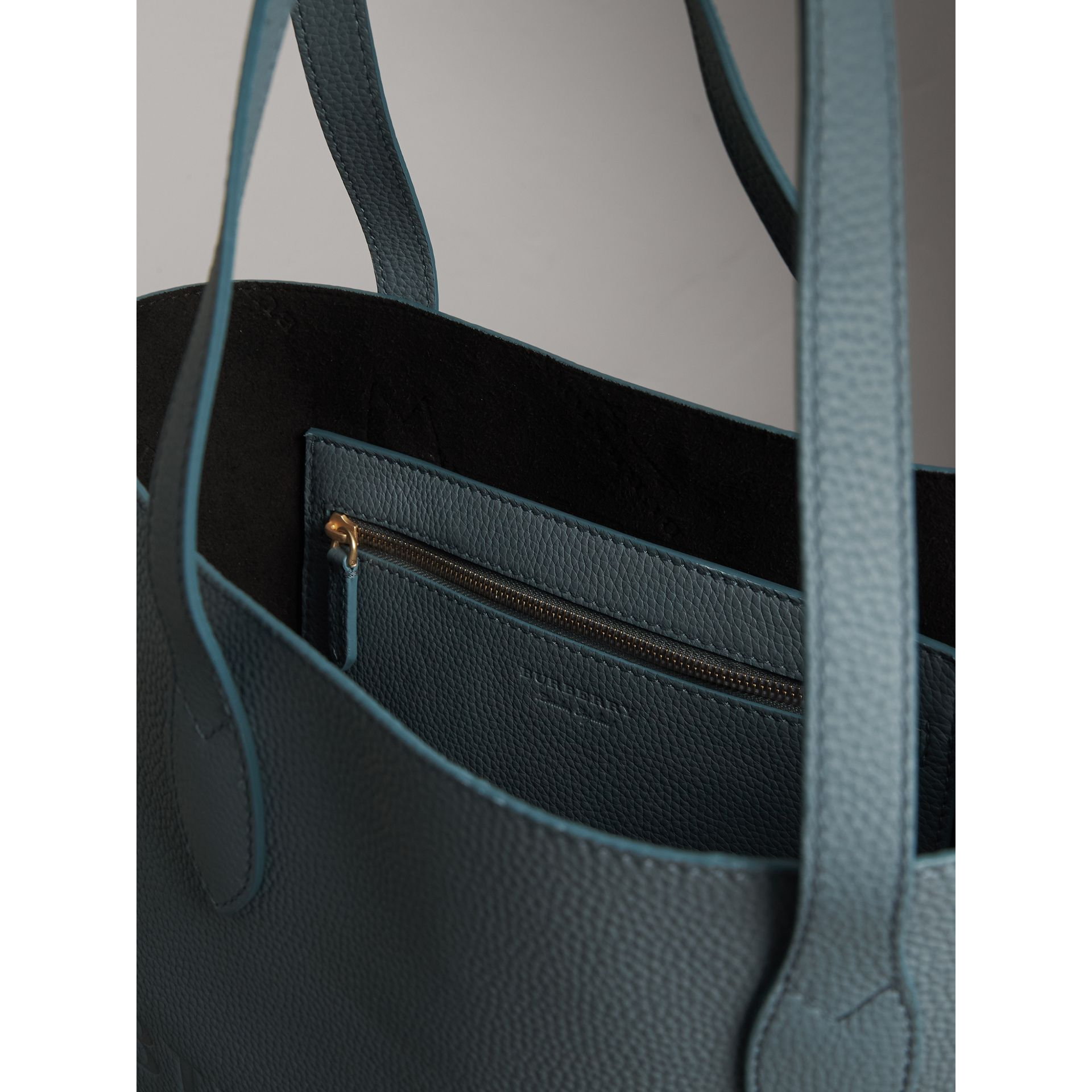 Medium Embossed Leather Tote in Dusty Teal Blue | Burberry - gallery image 6