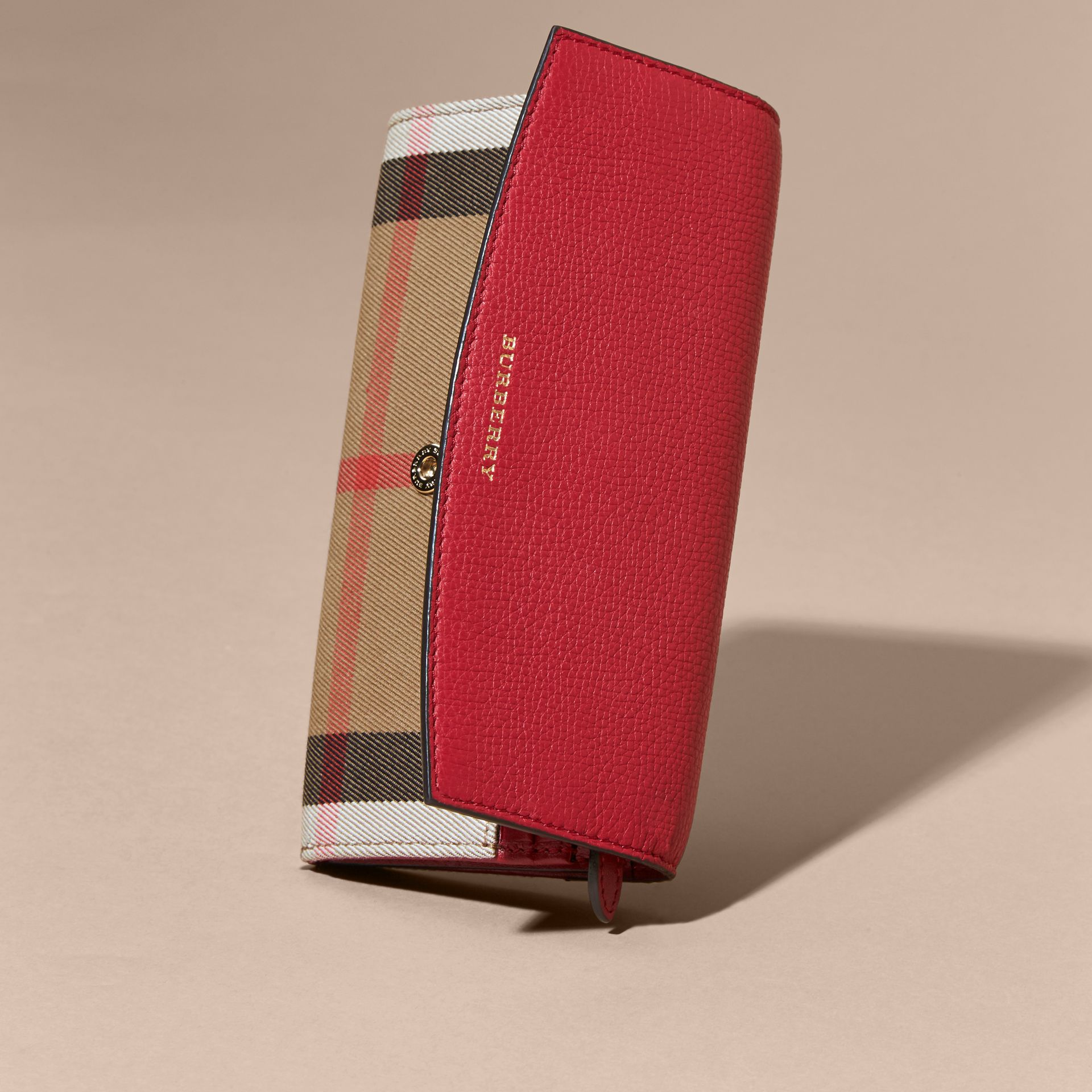 House Check And Leather Continental Wallet Military Red - gallery image 5