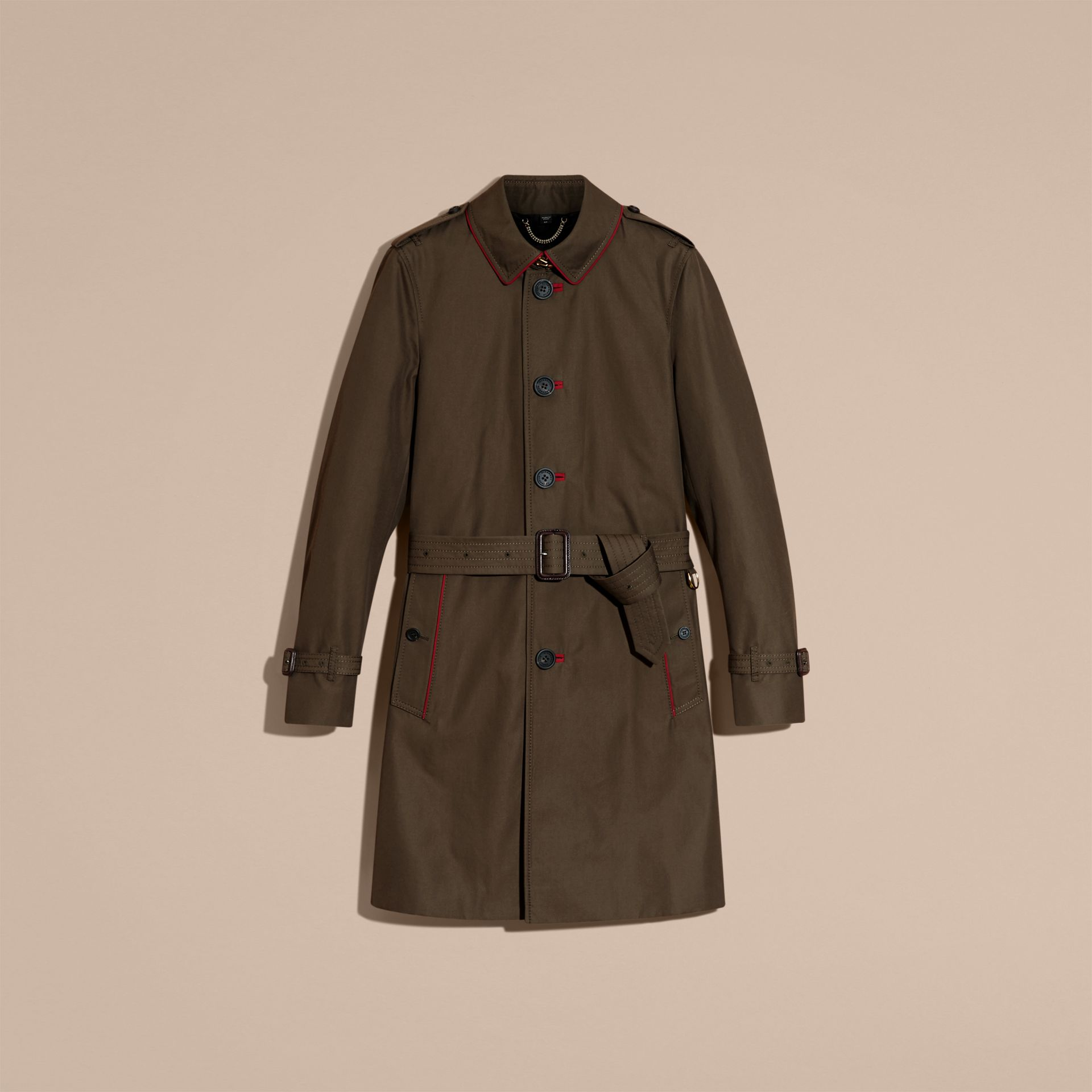 Dark khaki green Military Detail Cotton Trench Coat - gallery image 4