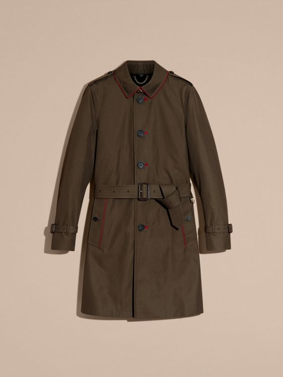 Dunkles khakigrün Trenchcoat aus Baumwolle mit Detail in Military-Optik - cell image 3