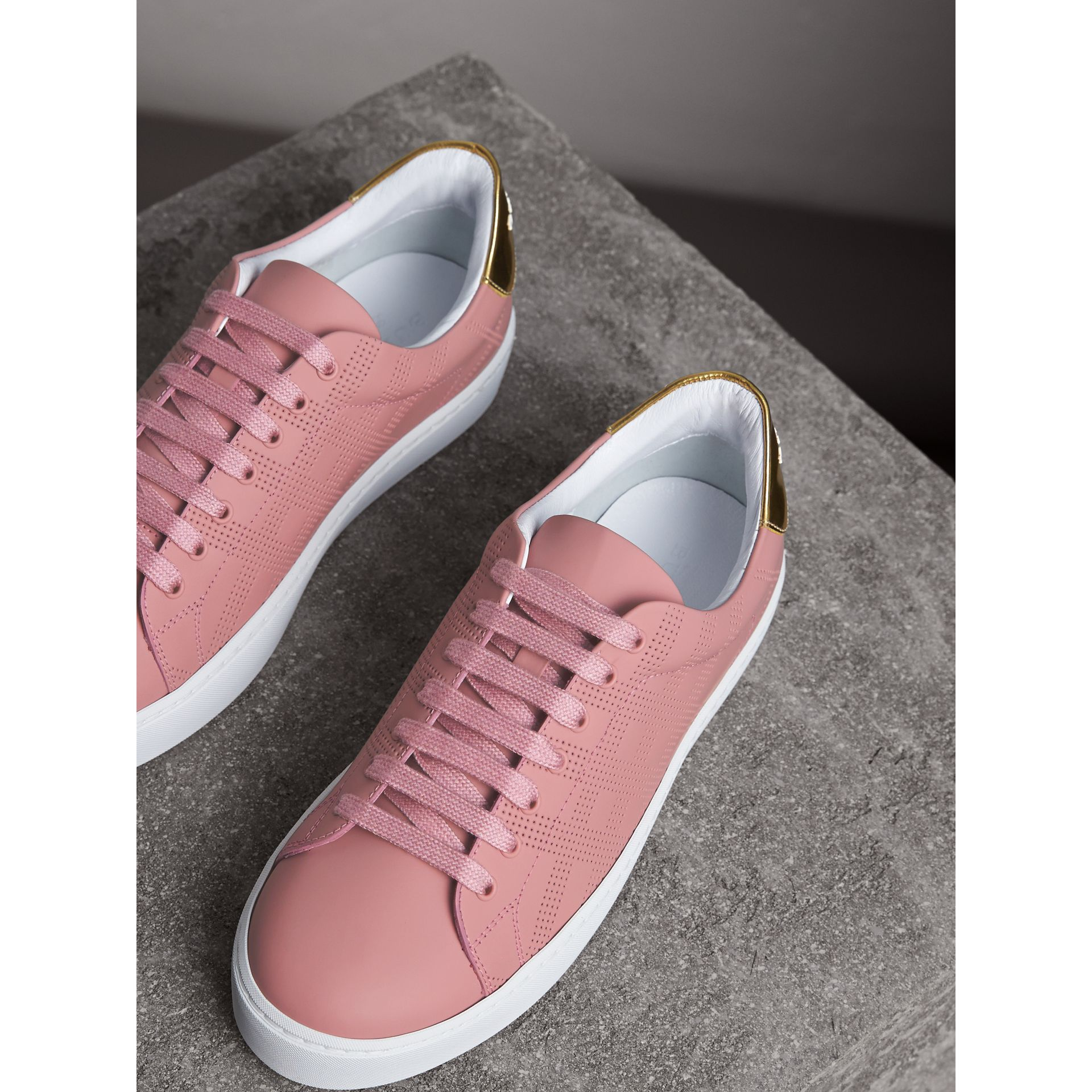 Perforated Check Leather Trainers in Rose Pink - Women | Burberry - gallery image 4